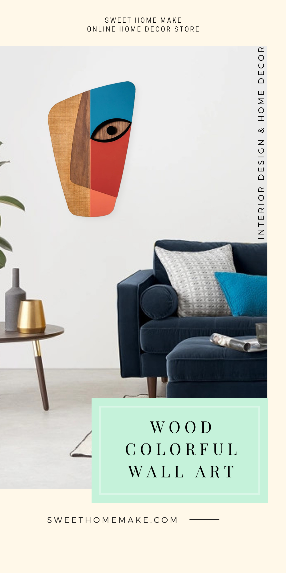 Modern Wall Decor with Abstract Colorful Wood Wall Art