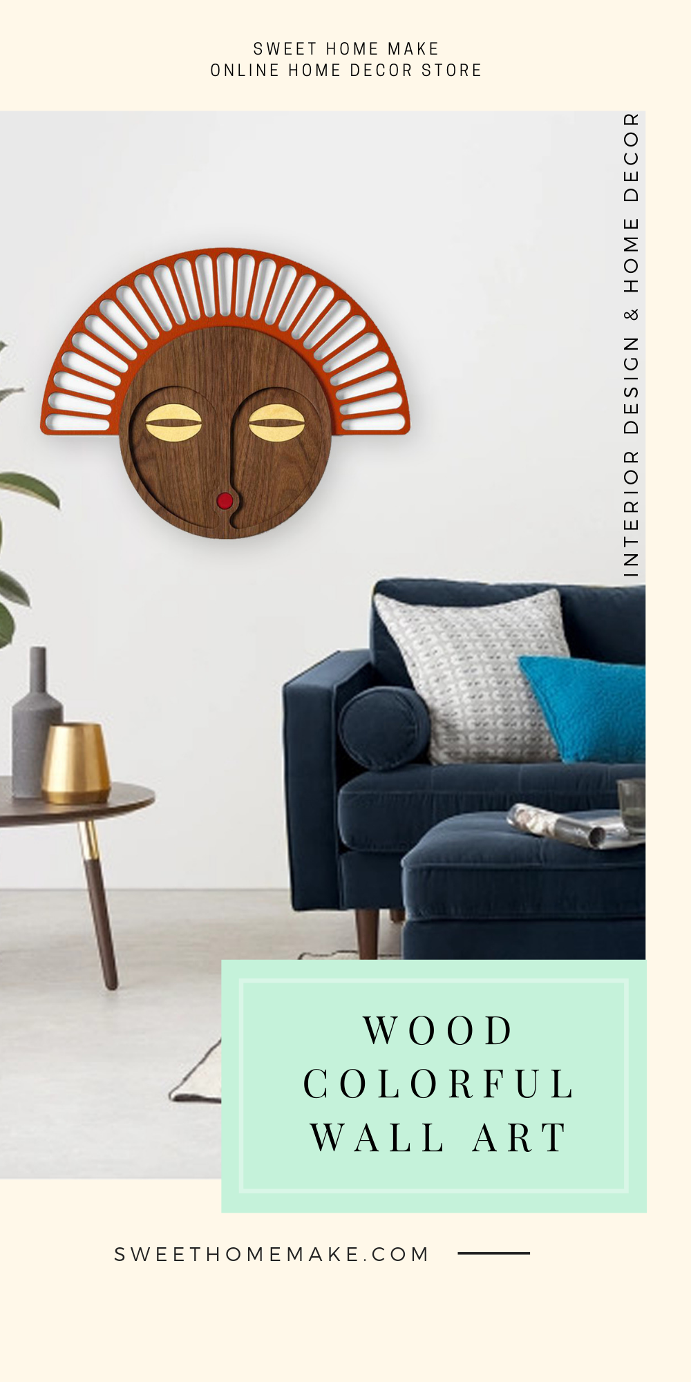 African Wall Mask with Carved Wood Wall Art