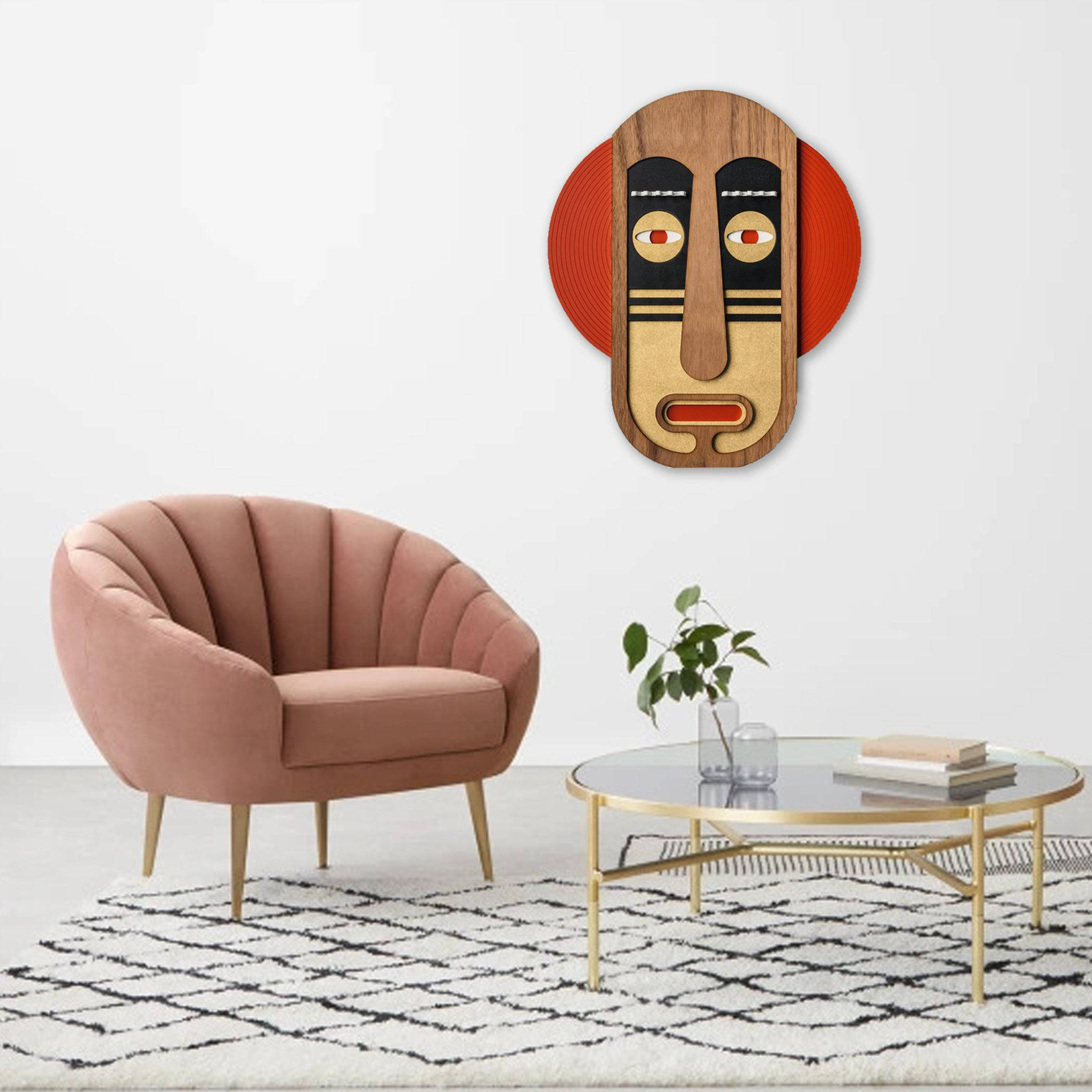 Modern Wall Decor with African Wall Hanging Mask