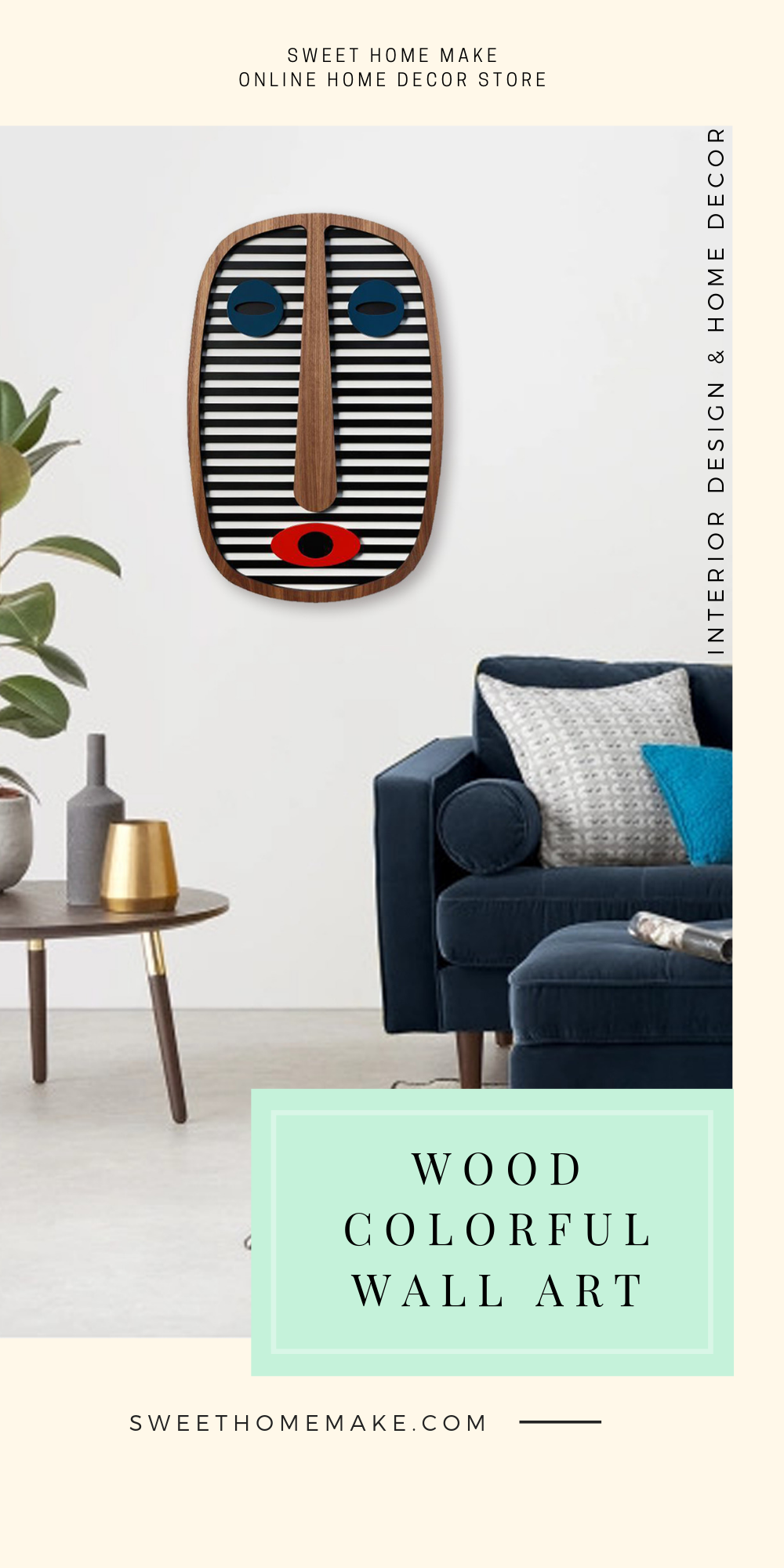 Modern Wall Decor with Blue Faces Wood Wall Art