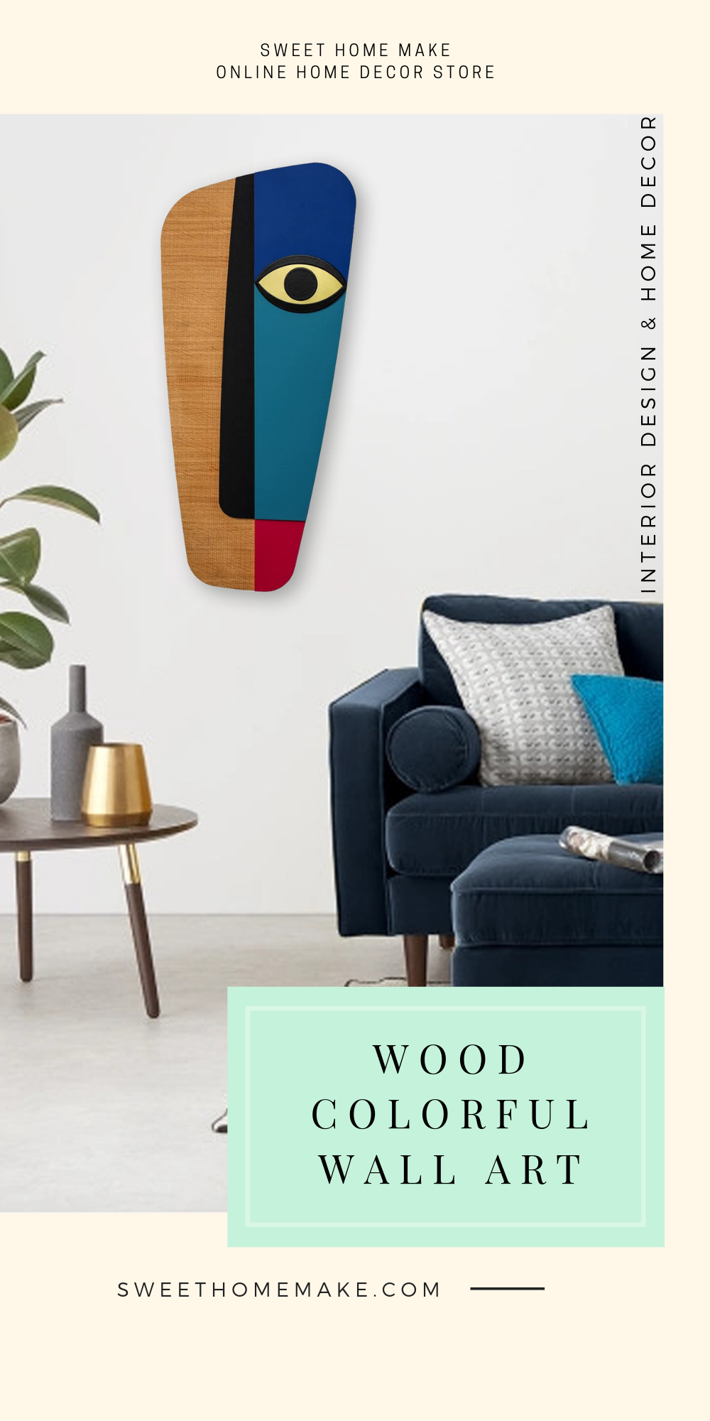 Modern Wall Decor with Blue Pastels Wood Wall Art