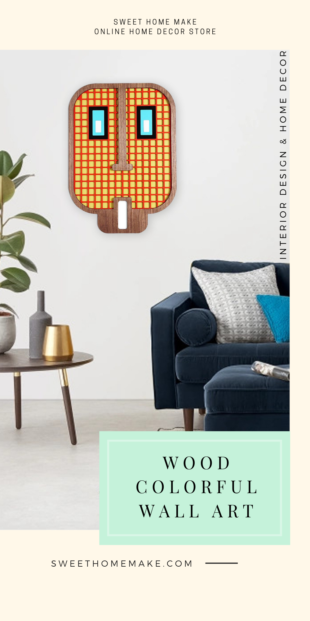 Modern Wall Decor with Emoji Face Wood Wall Art
