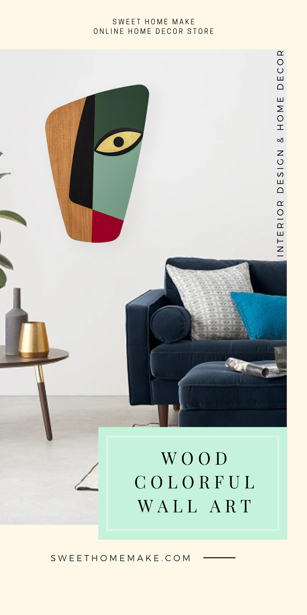 Modern Wall Decor with Green Wood Wall Art