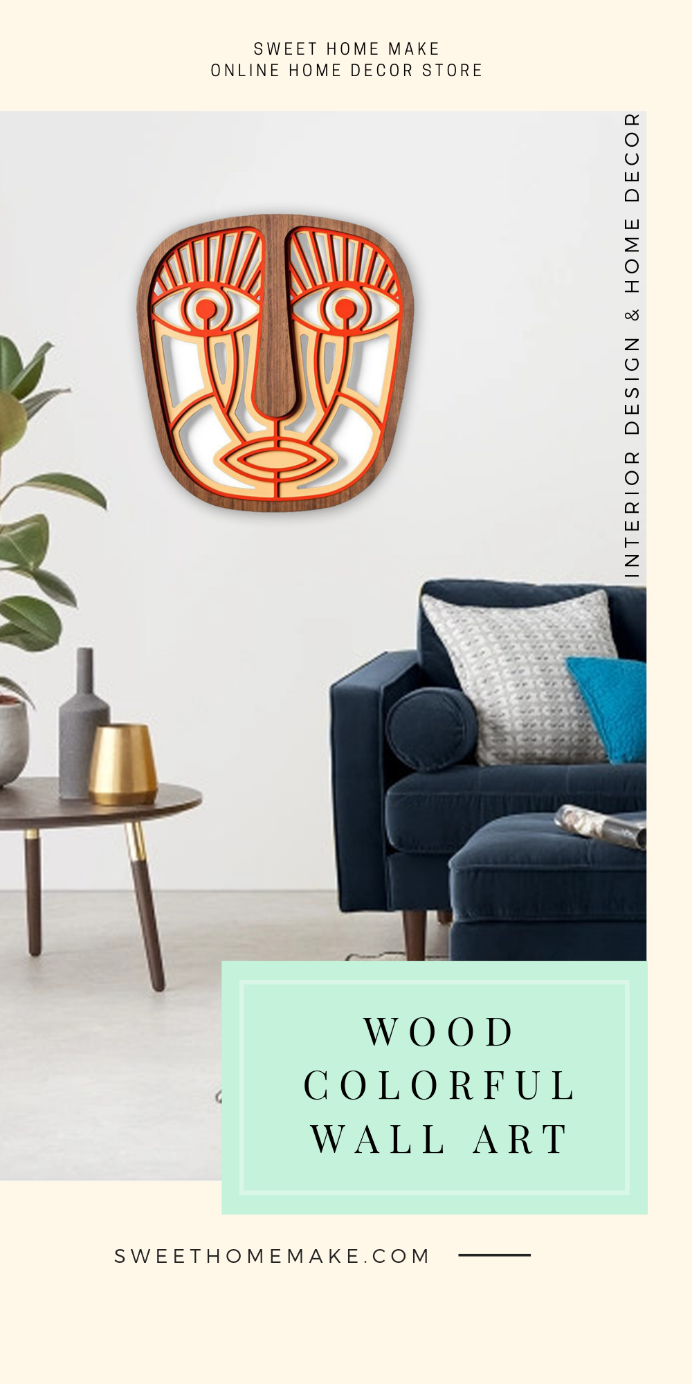 Modern Wall Art with Wood African Wall Mask