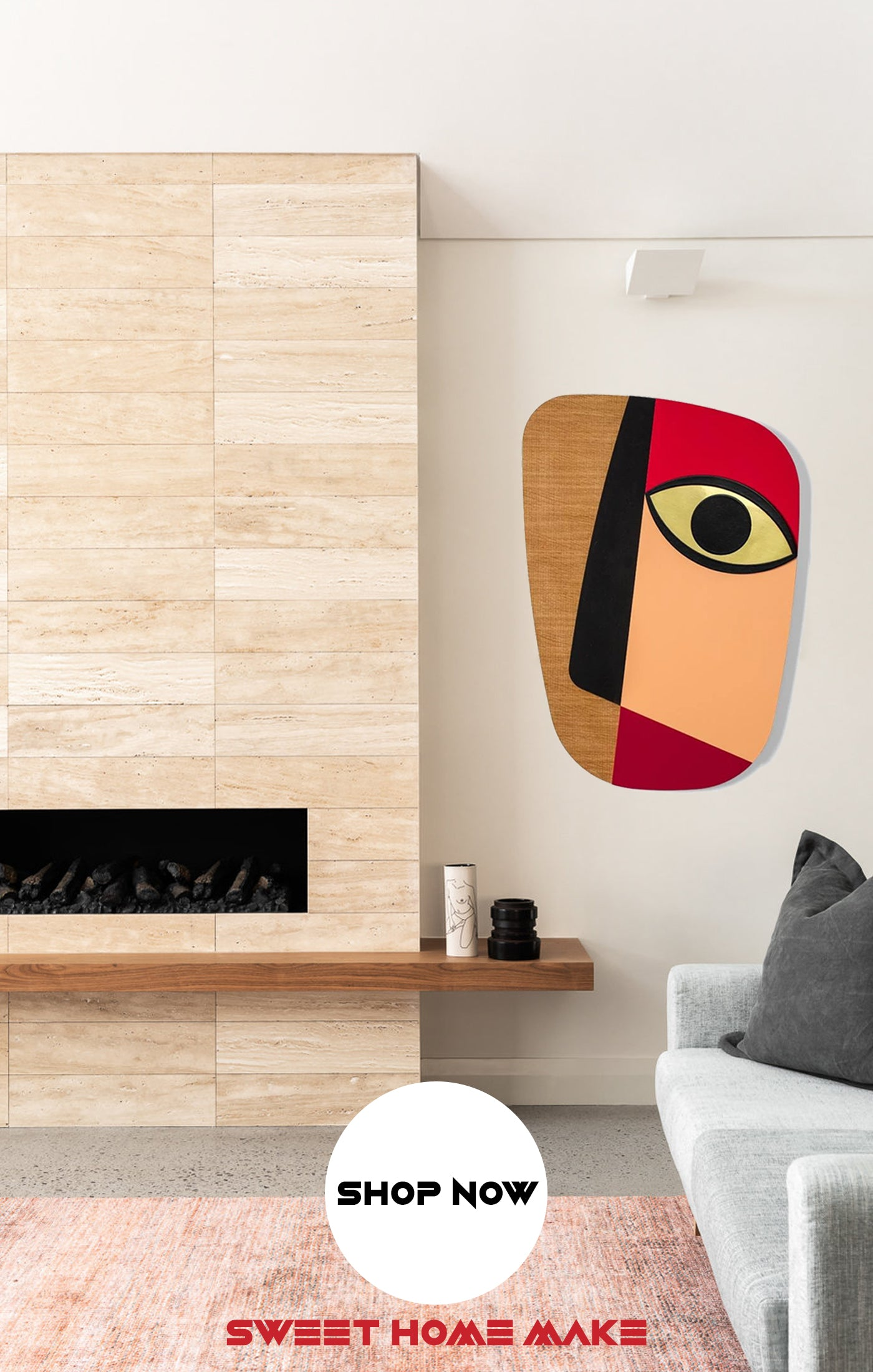 Modern and Colorful Abstract Wood Wall Art at the Living Room Wall Decor