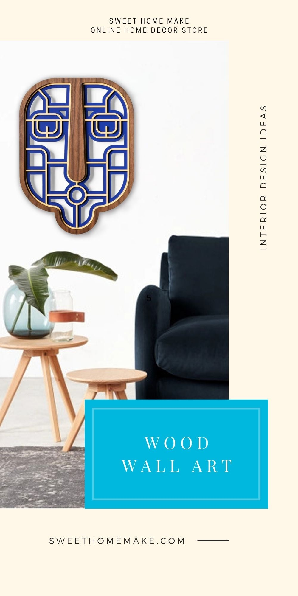 Modern and Contemporary Wall Art with Wood Blue Wall Hanging