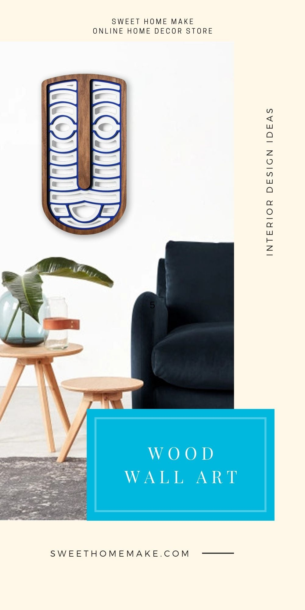 Modern and Contemporary Wall Art with Wood Blue and White Wall Hanging