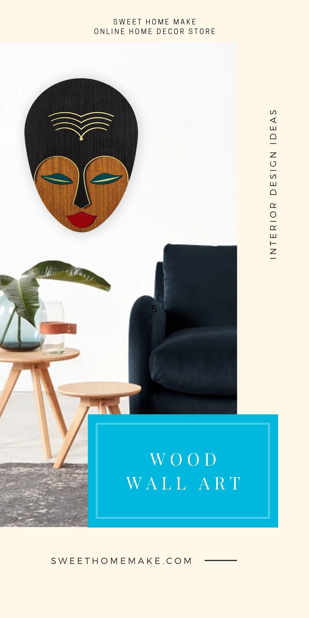 Modern and Contemporary Wall Art with Wood Female Face Wall Hanging