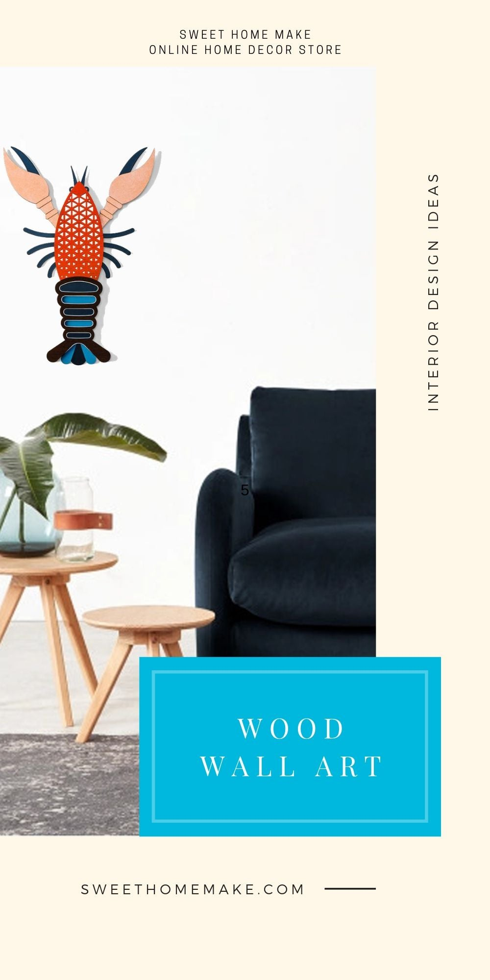 Modern and Contemporary Wall Art with Wood Lobster
