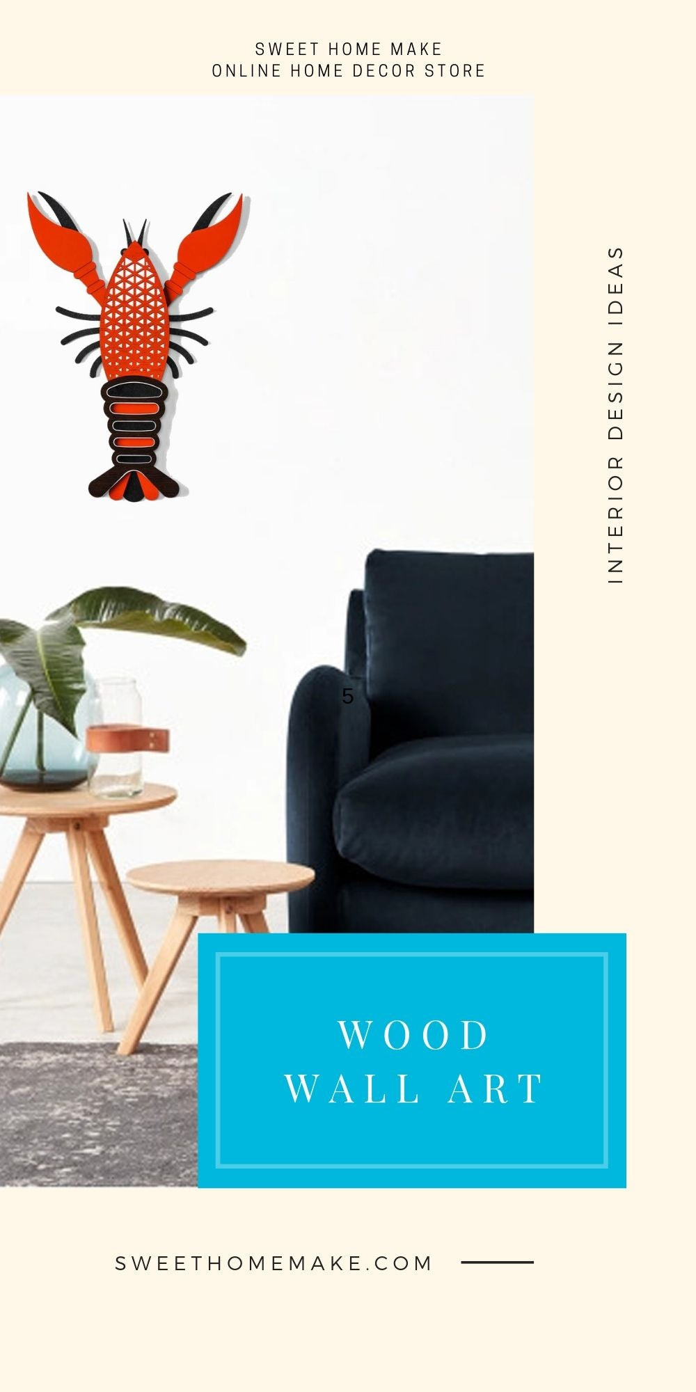 Modern and Contemporary Wall Art with Wood Lobster Art