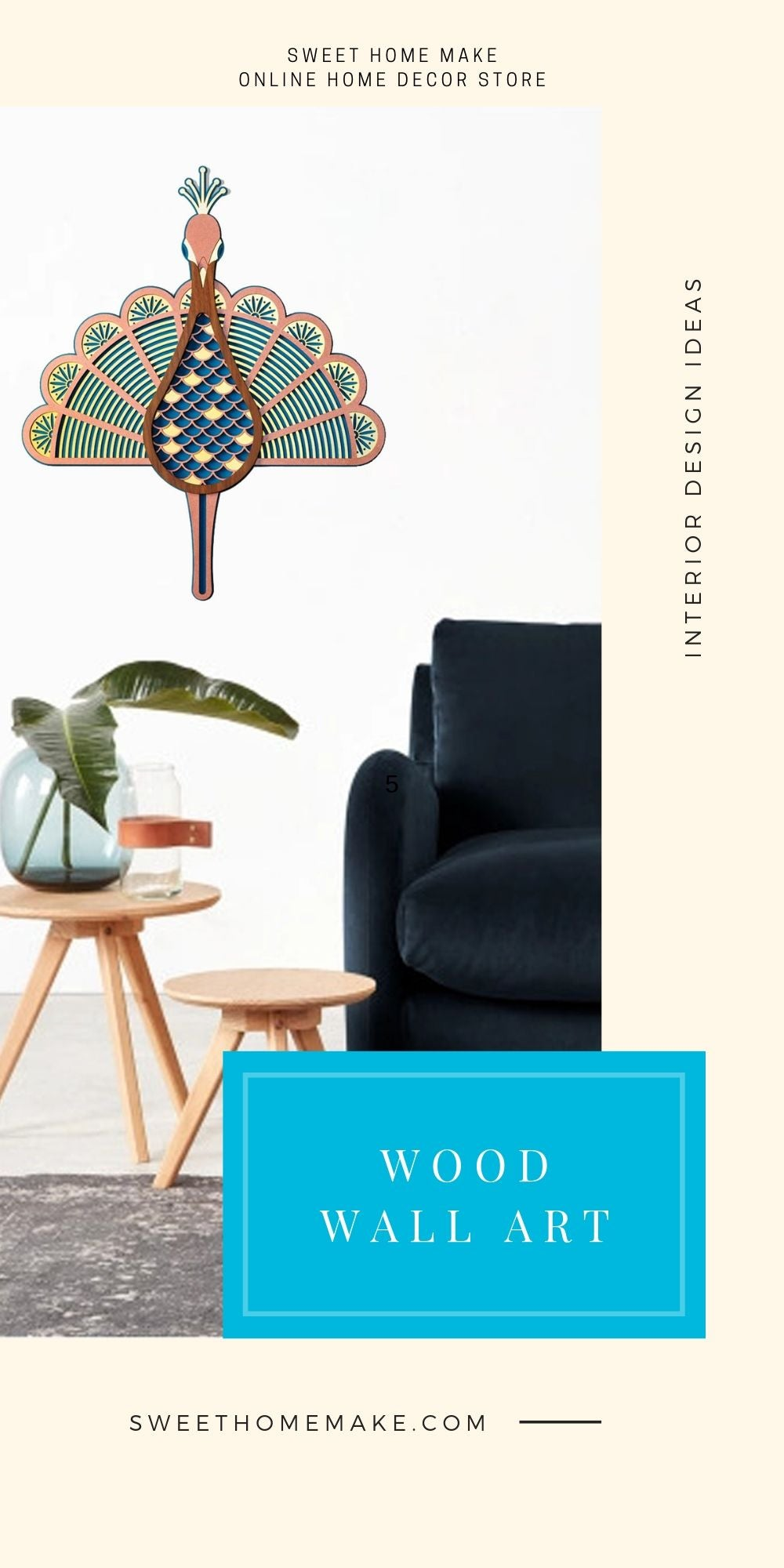 Modern and Contemporary Wall Art with Wood Peacock Wall Hanging