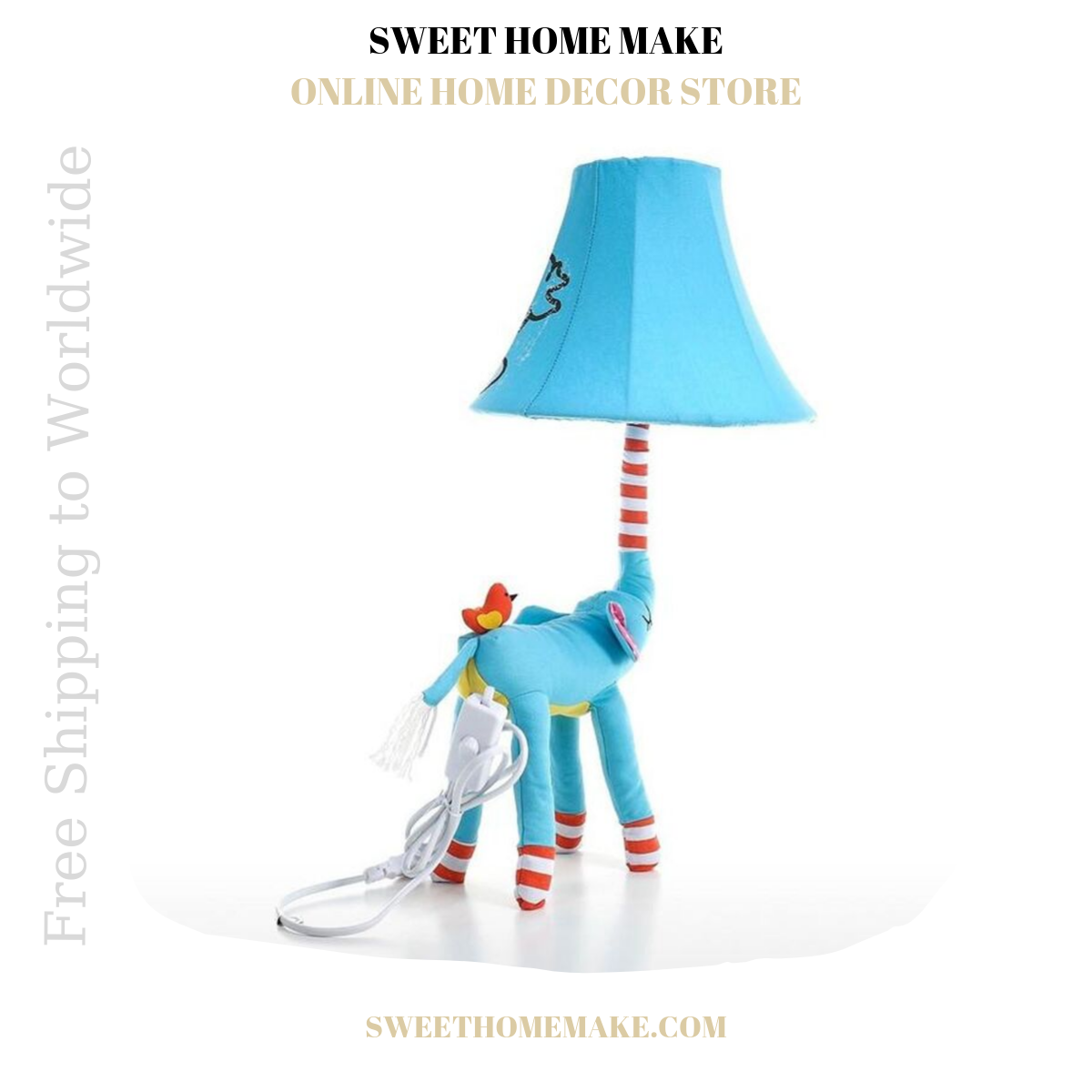Nursery Lamp For Night Light and Table Lamp Elephant Blue