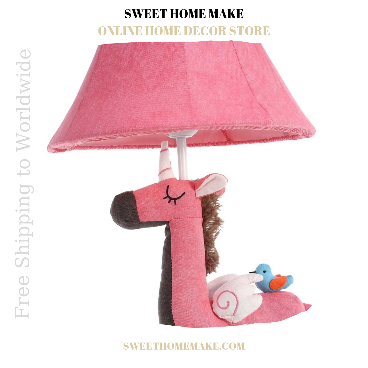 Pink Nursery Lamp For Night Light and Table Lamp Unicorn