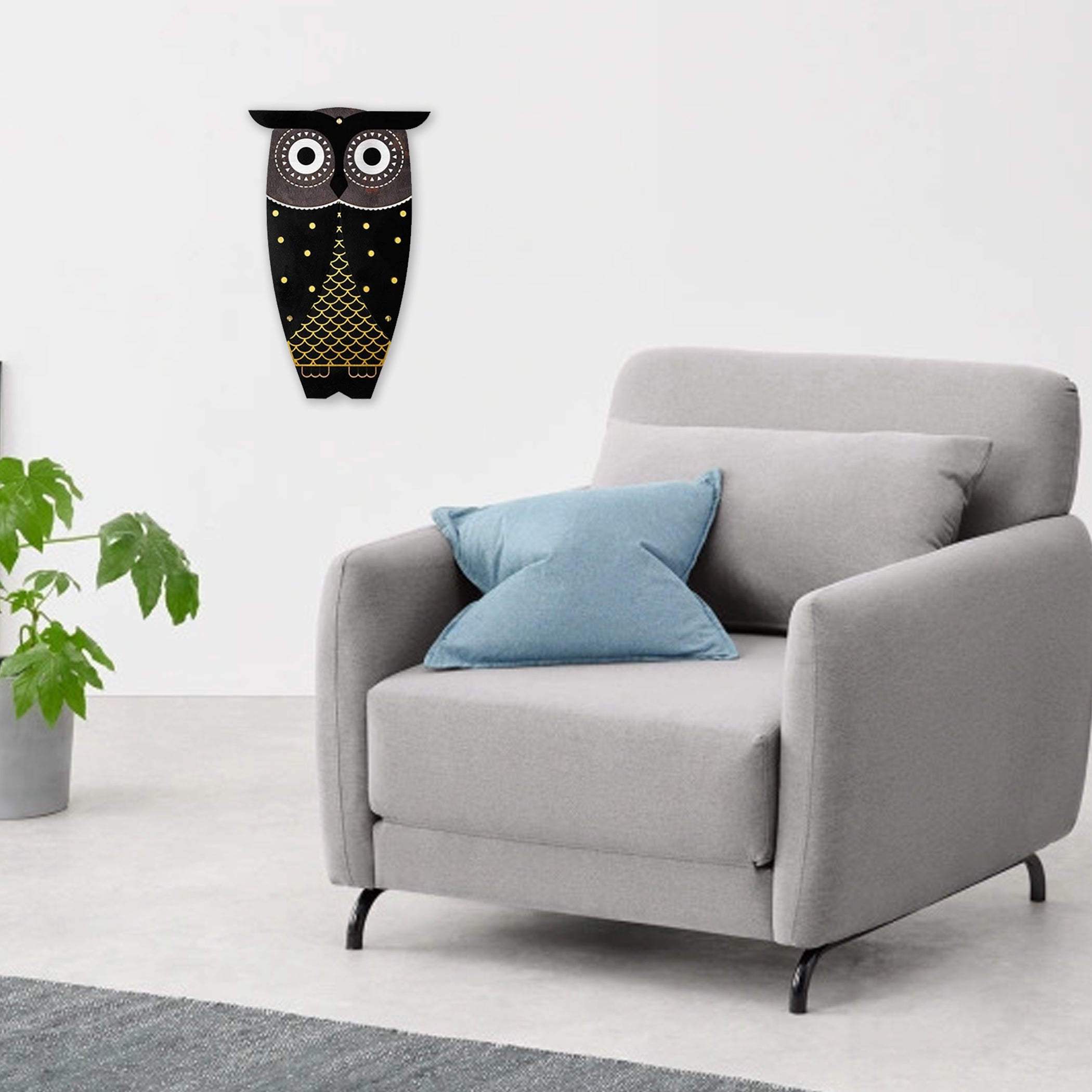 Owl Painting with Wood Wall Art