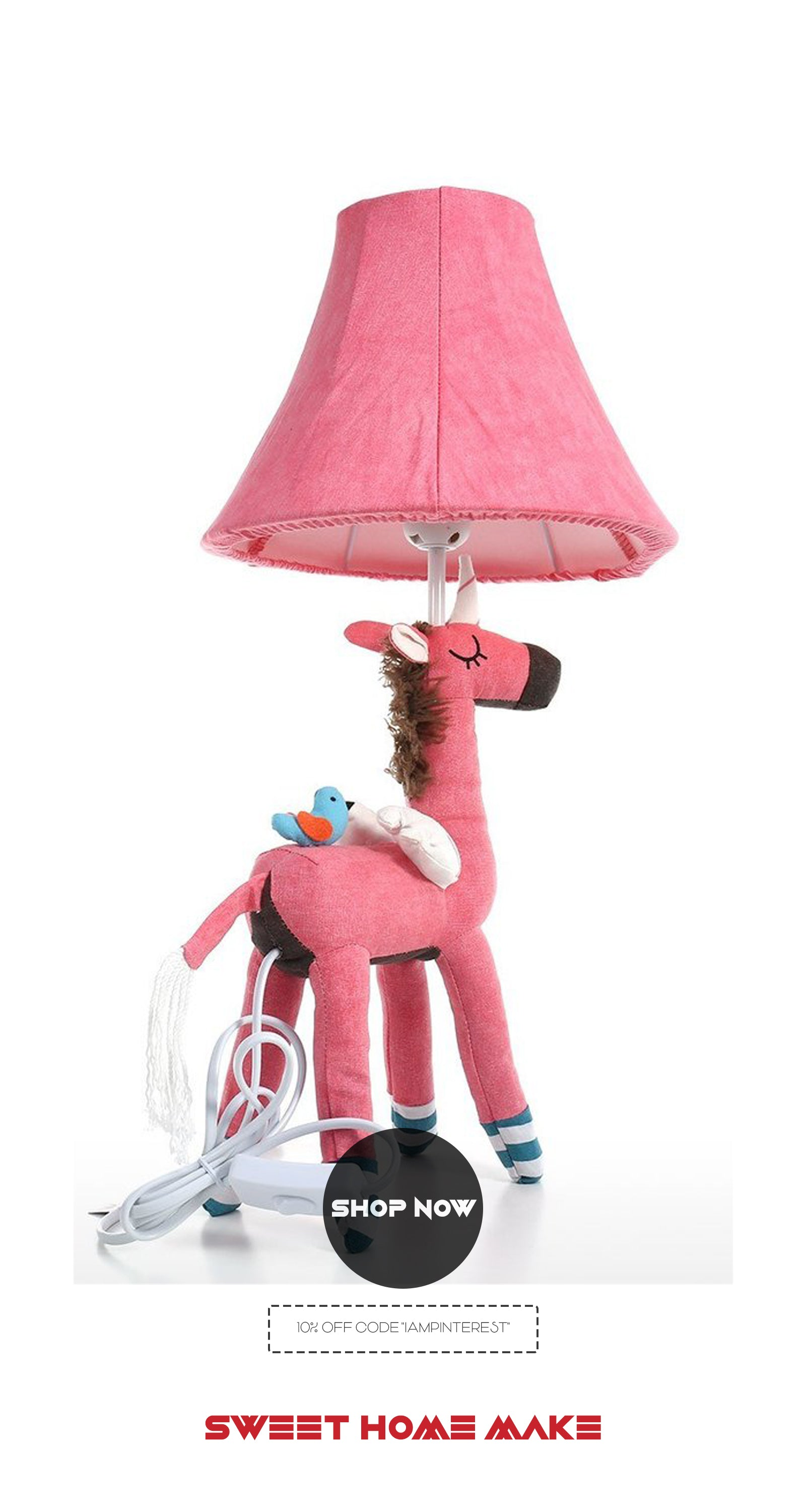Pink Girls Bedroom Decor with Bedside Lamp and Unicorn Toy