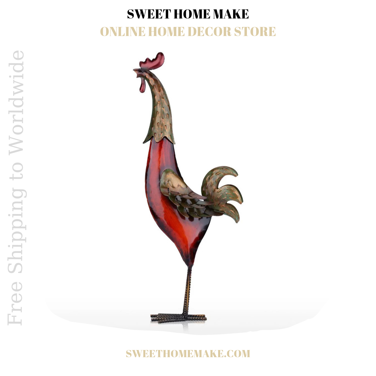 Red Iron Rooster Statue