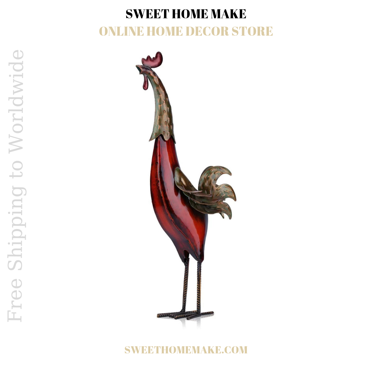 Red Rooster Decor by Metal Statue