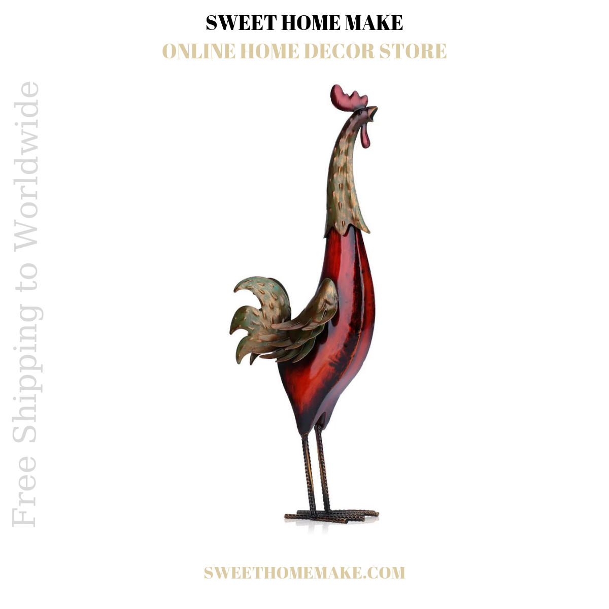 Red Rooster Kitchen Decor by Metal Statue