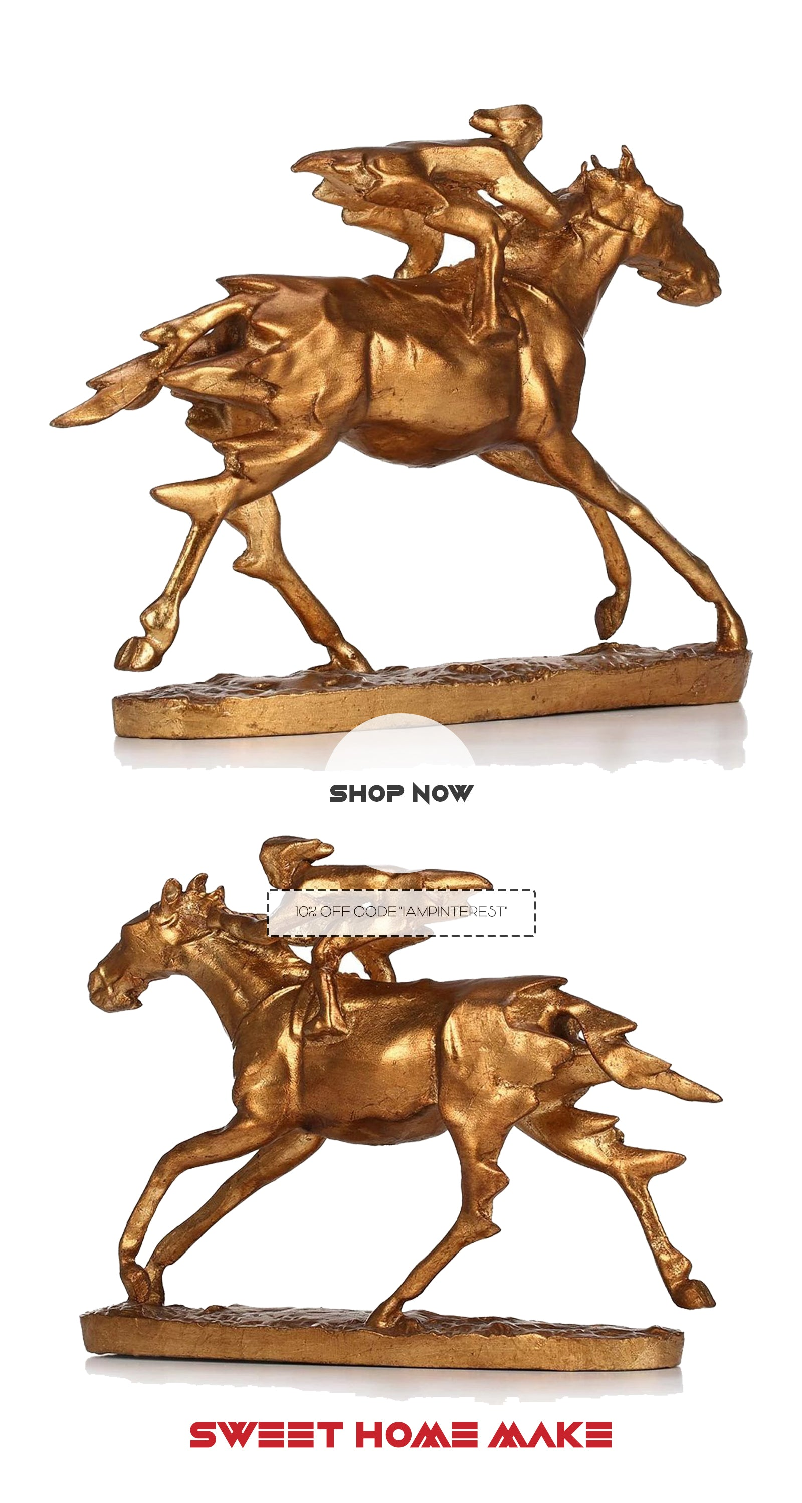 Small Decorative Gold Horse Statue with Gold Horse Riding For Horse Decor