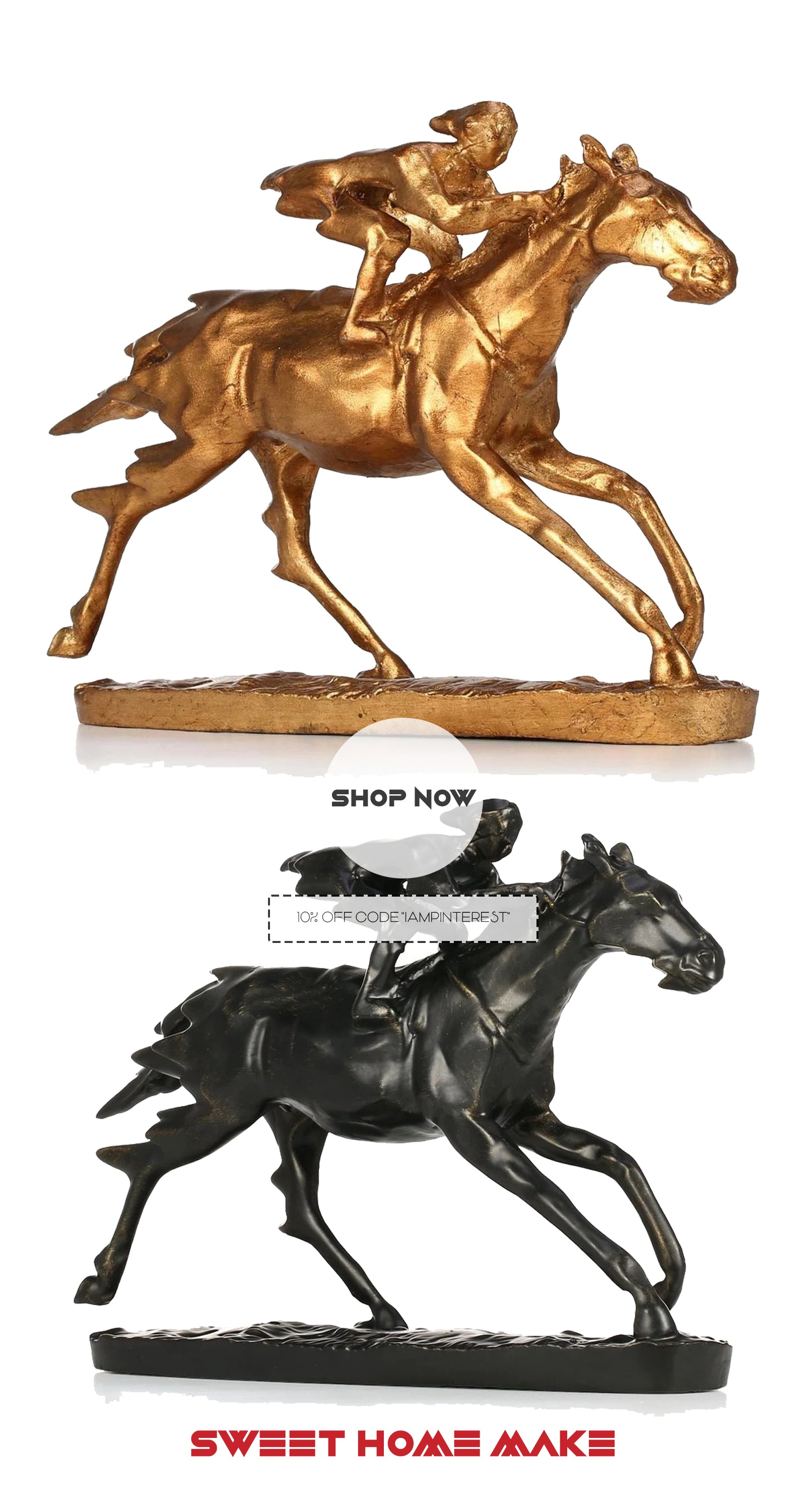 Small Horse Statue with Metal Gold and Black Horse Riding Decor