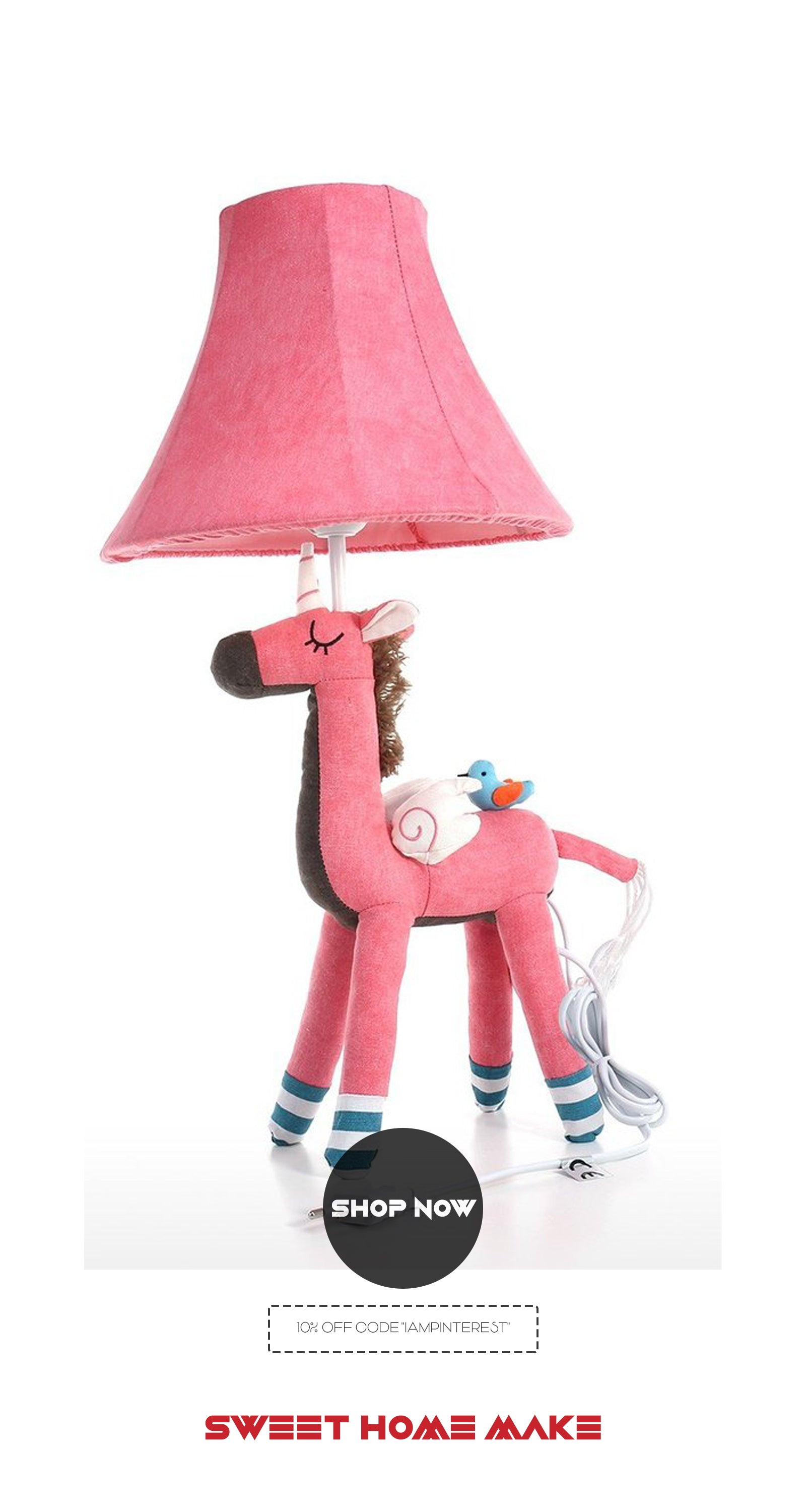 Small Table Lamp and Girls Bedroom Lamp with Unicorn Toy
