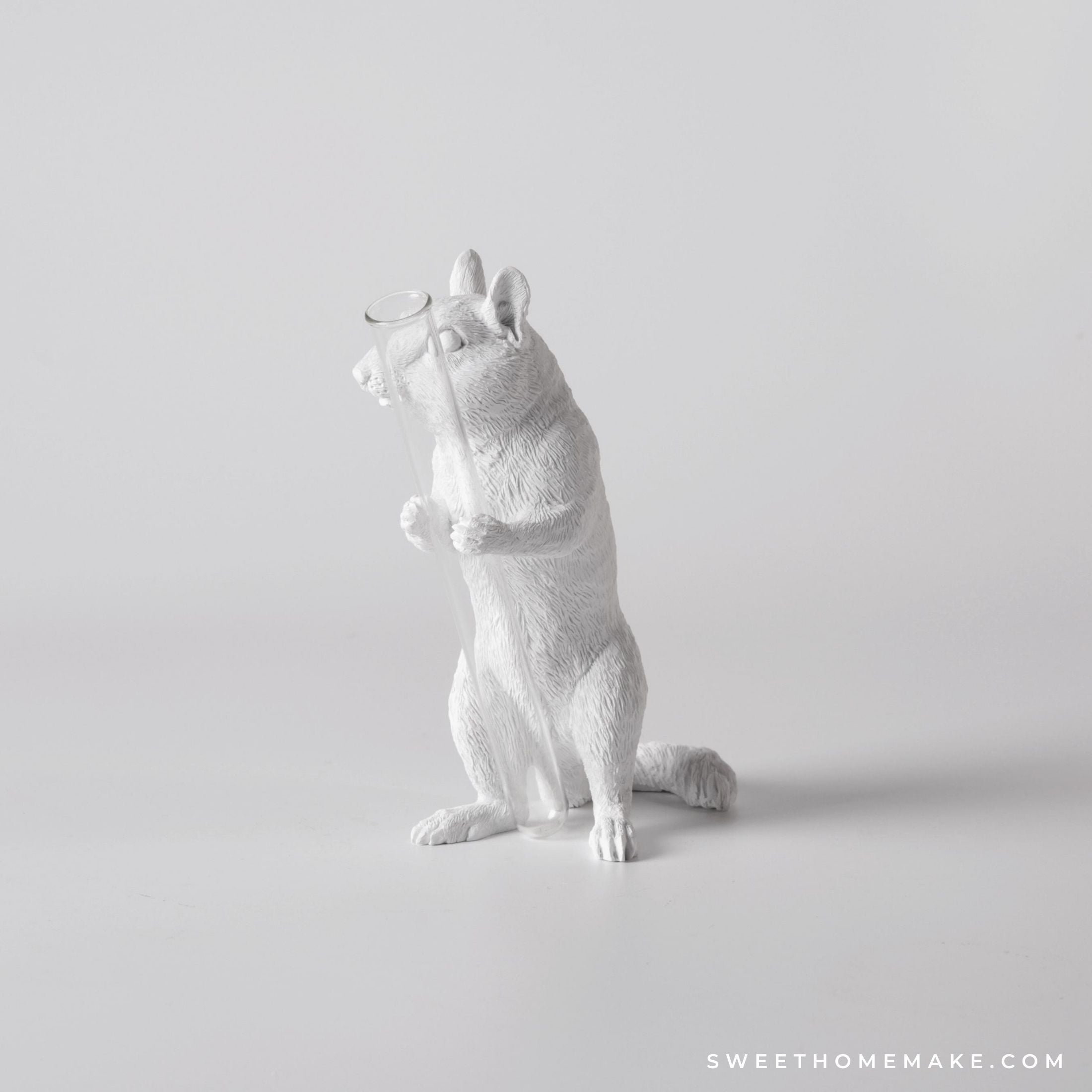 Squirrel Vase for Single Flower with Decorative Statue
