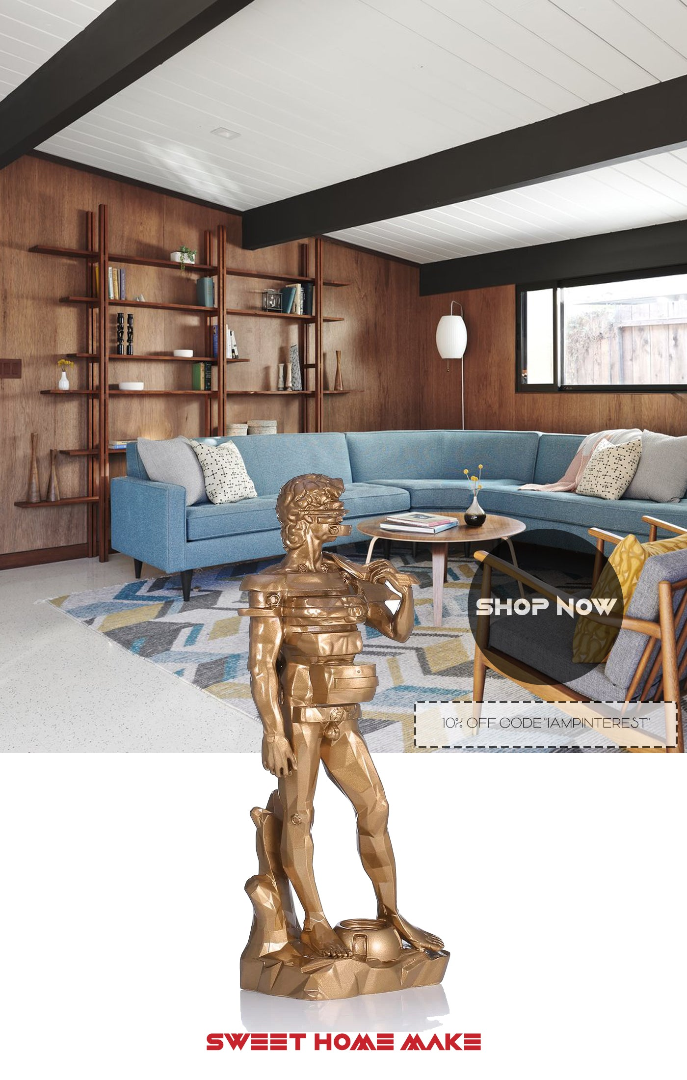 Statue Of David Living Room Bookcase Decor