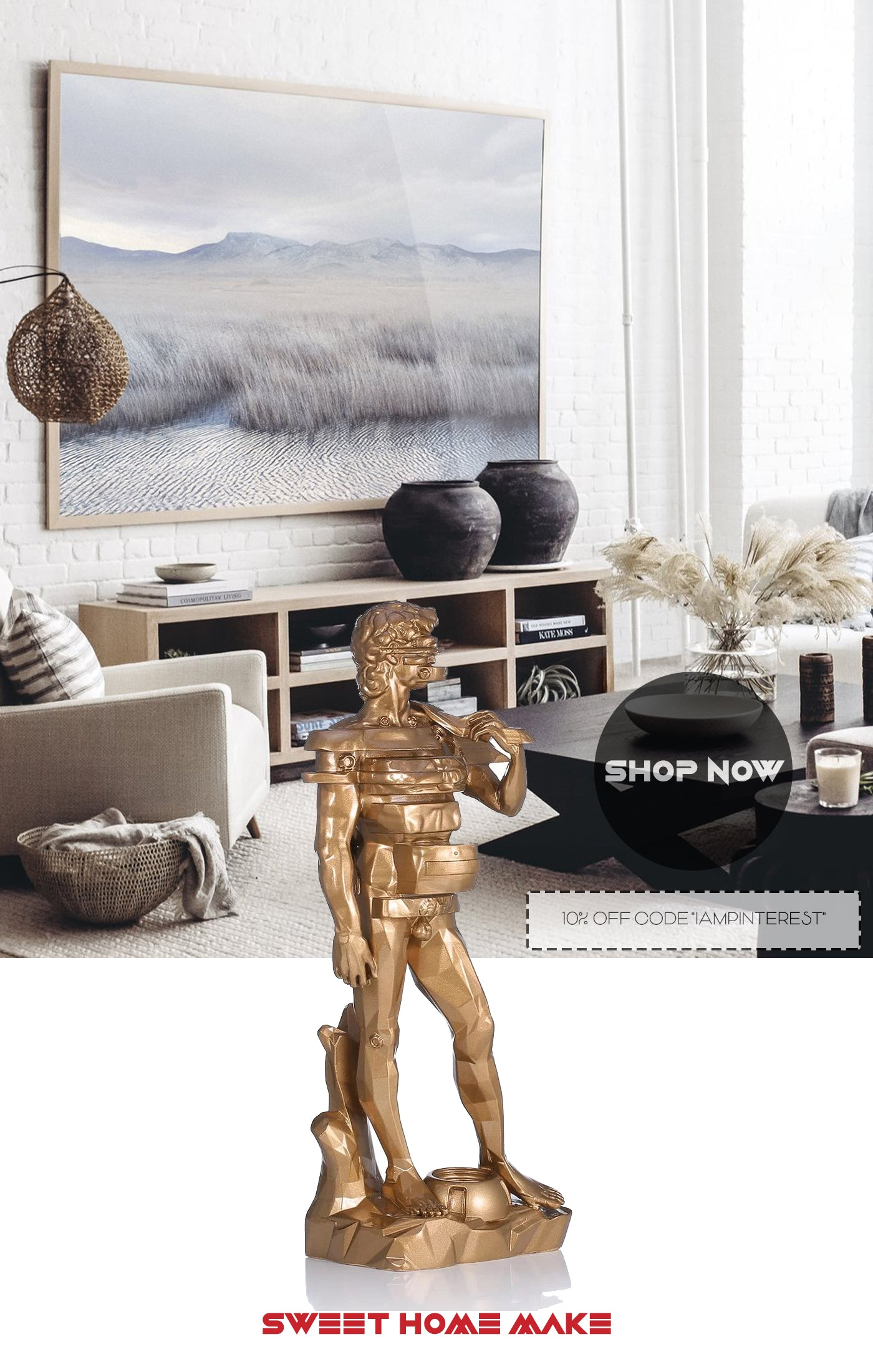 Statue of David For Dresser Console Decor