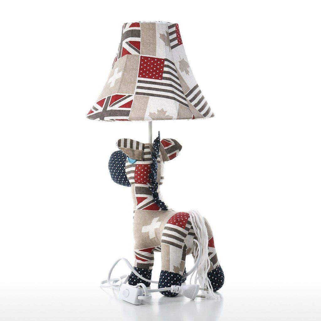 Table Lamps for Bedroom with Horse Toys Patchwork Handmade Fabric