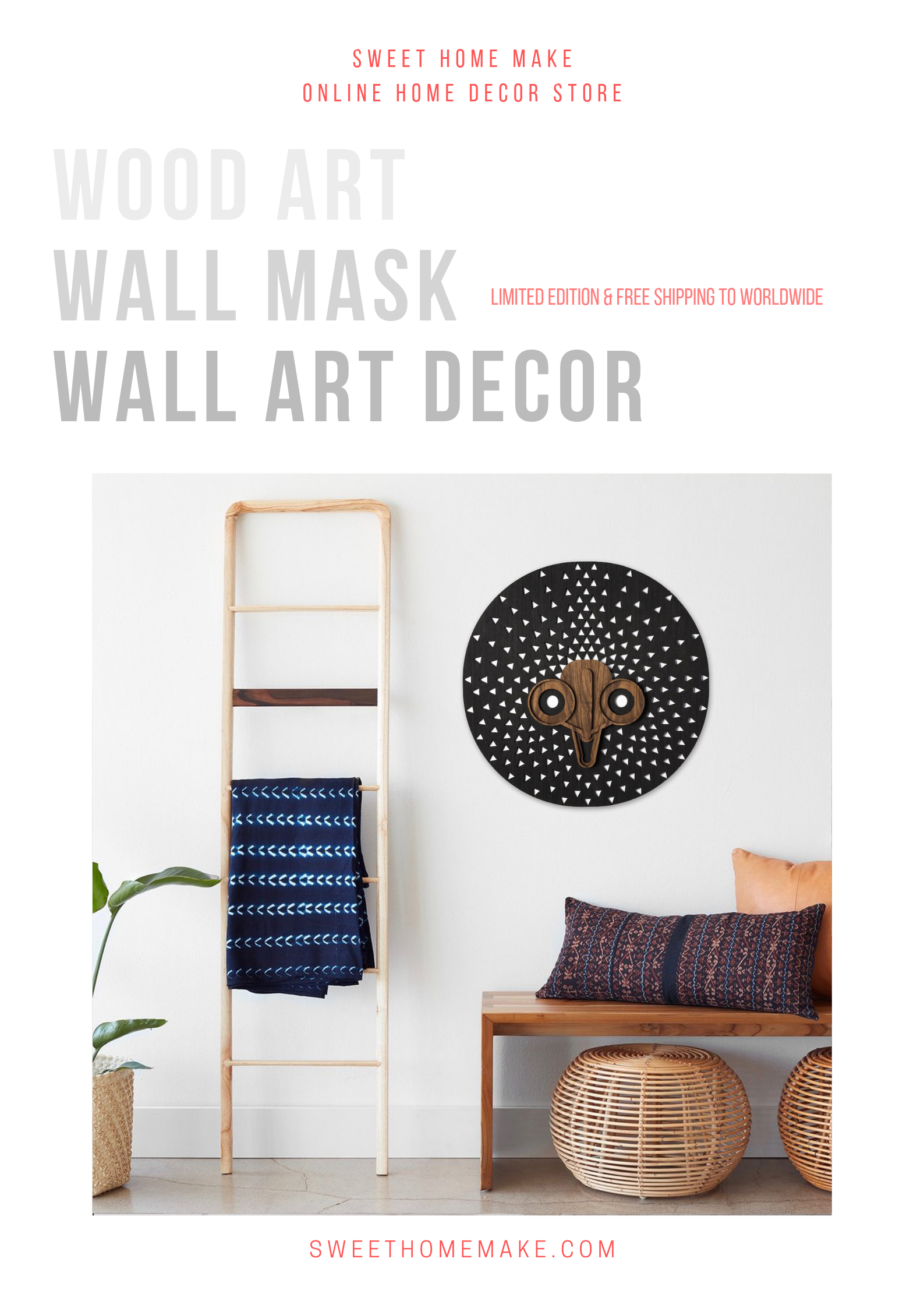 Tribal African Wall Mask by Wood Wall Art