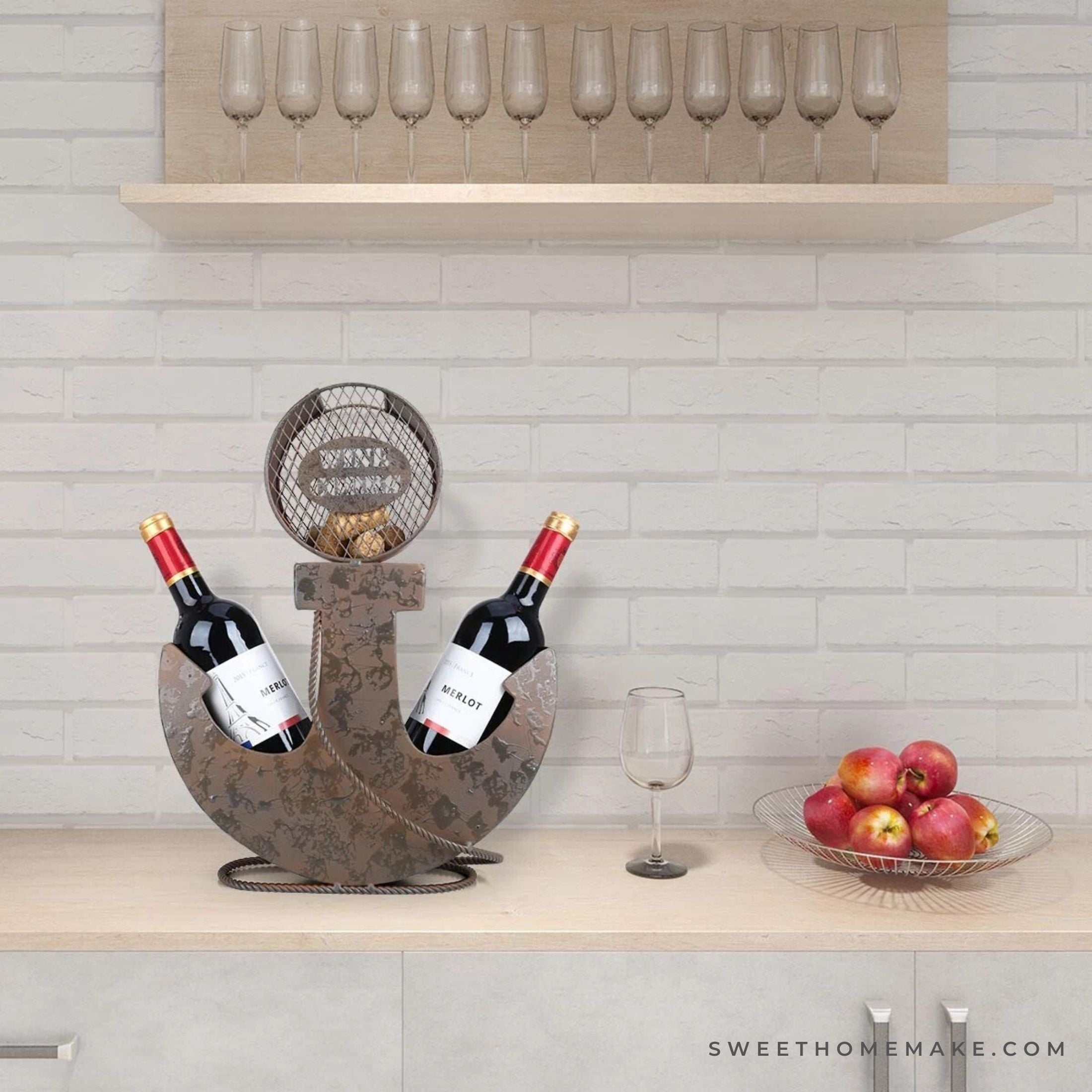 Two Bottle Wine Holder with Anchor to Nautical Decor
