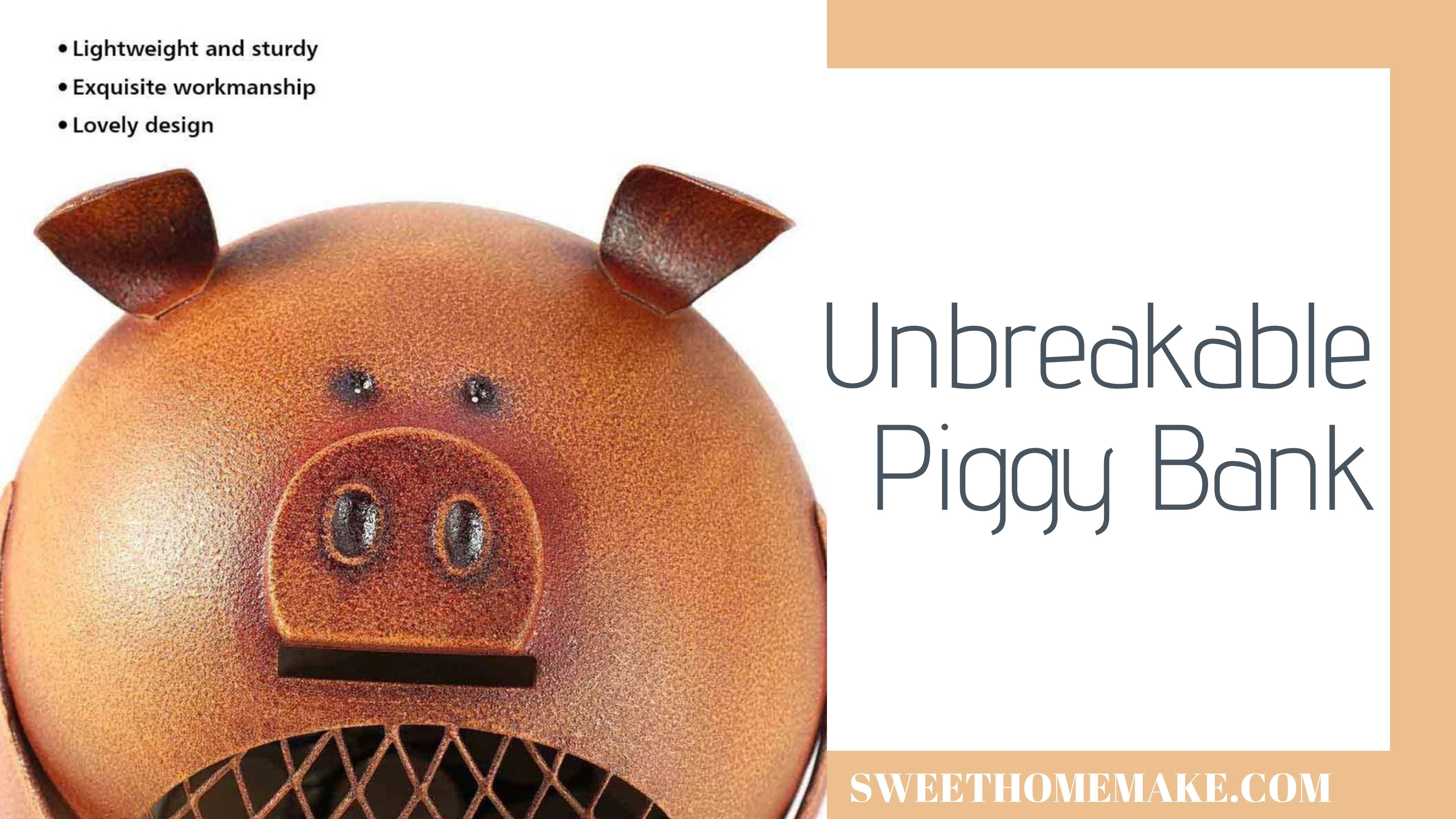 Unbreakable Piggy Bank for Kids Room Decor and Nursery Decor