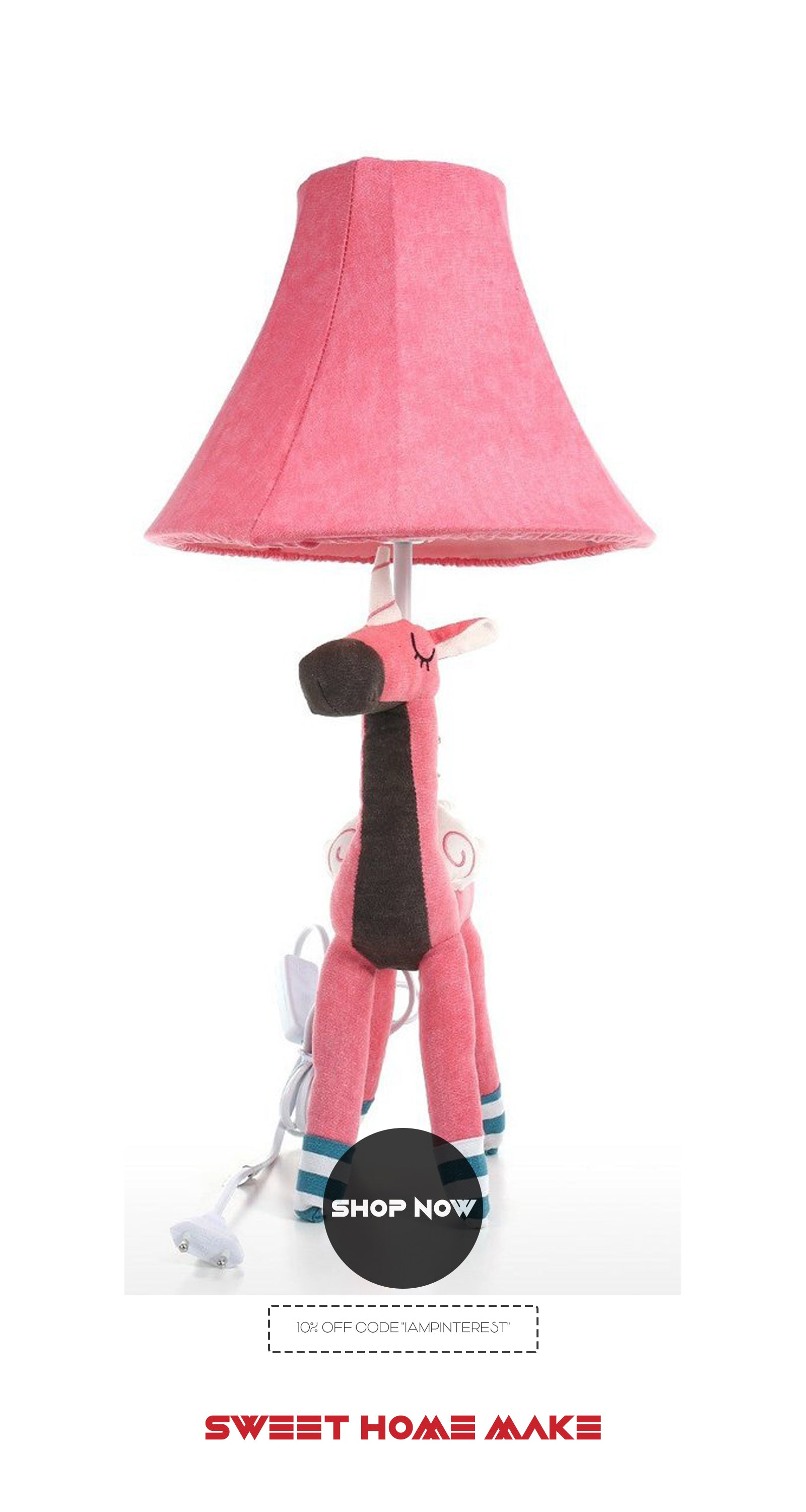 Unicorn Toy with Nightstand Bedside Pink Lamp