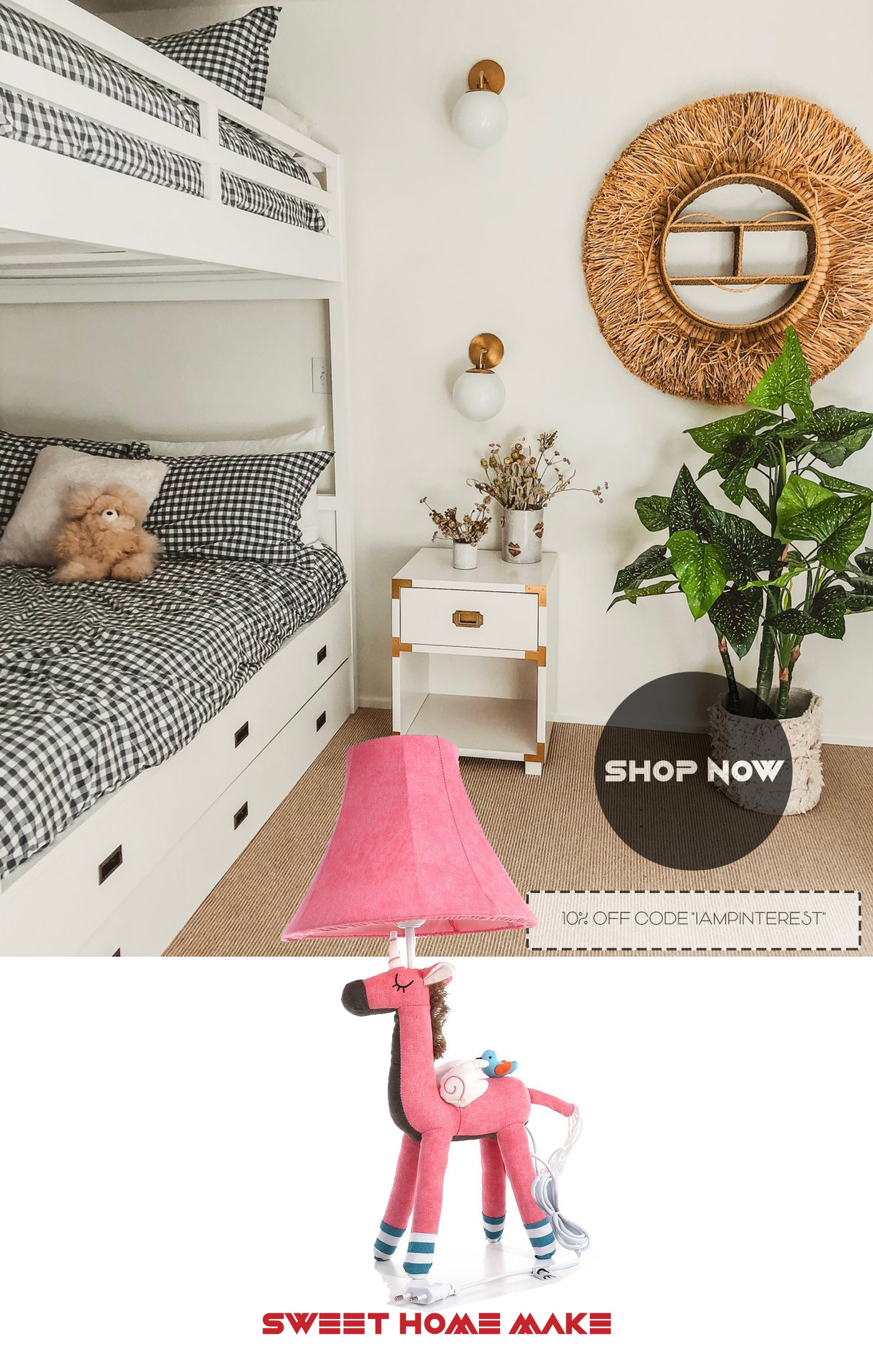 Unicorn Toys with Pink Stuffed Table Lamp For Bedroom Decorations