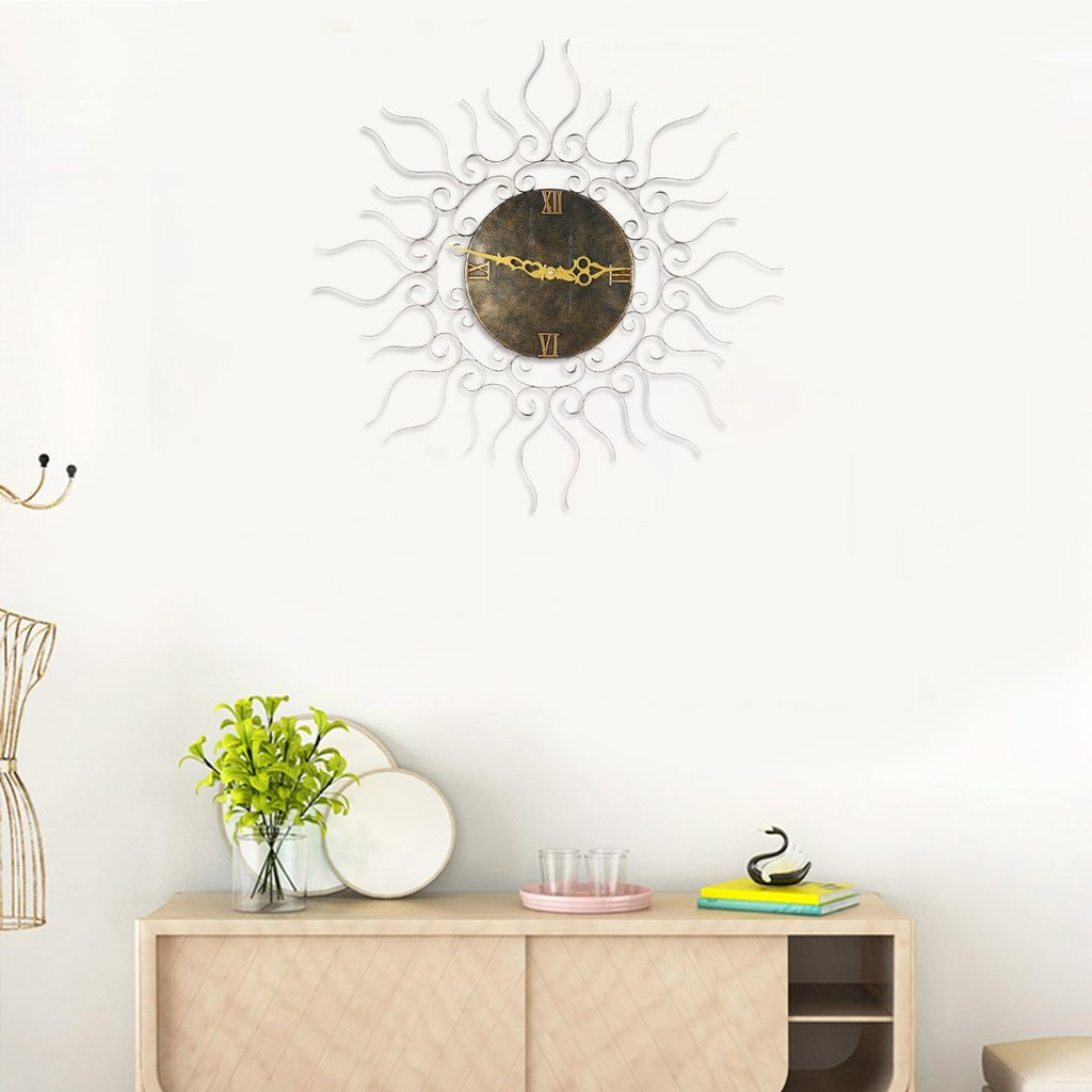 Large Metal Wall Clock with Analog Clock