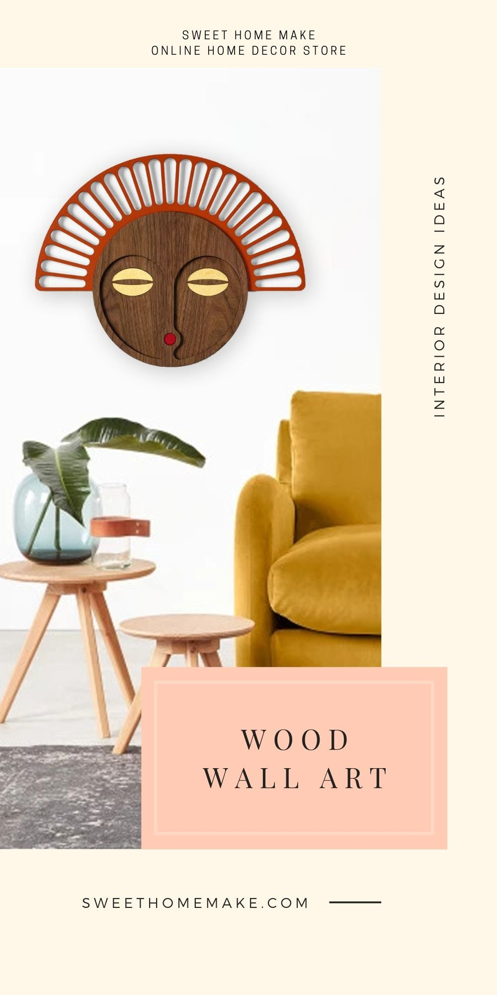 Wood Wall Art with African Hanging Mask
