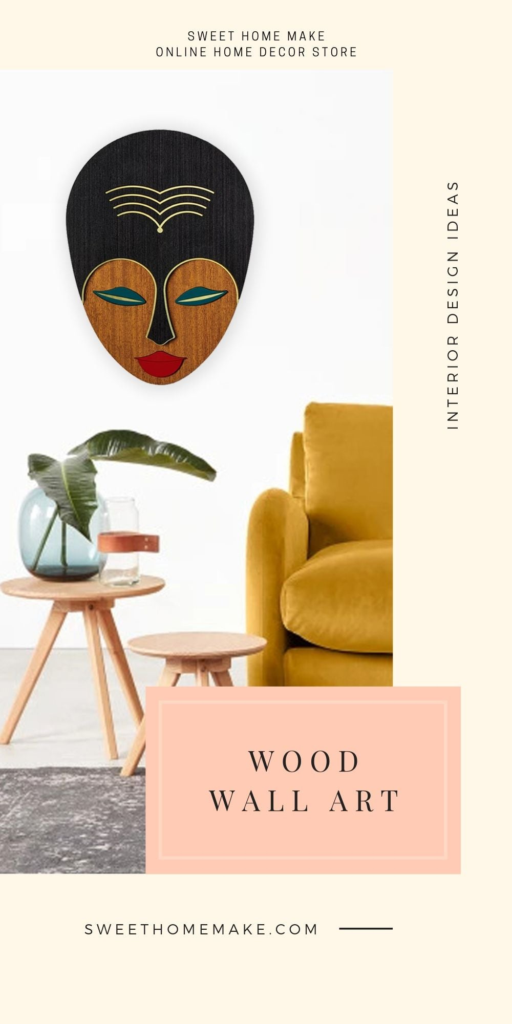 Wood Wall Art with Female Face