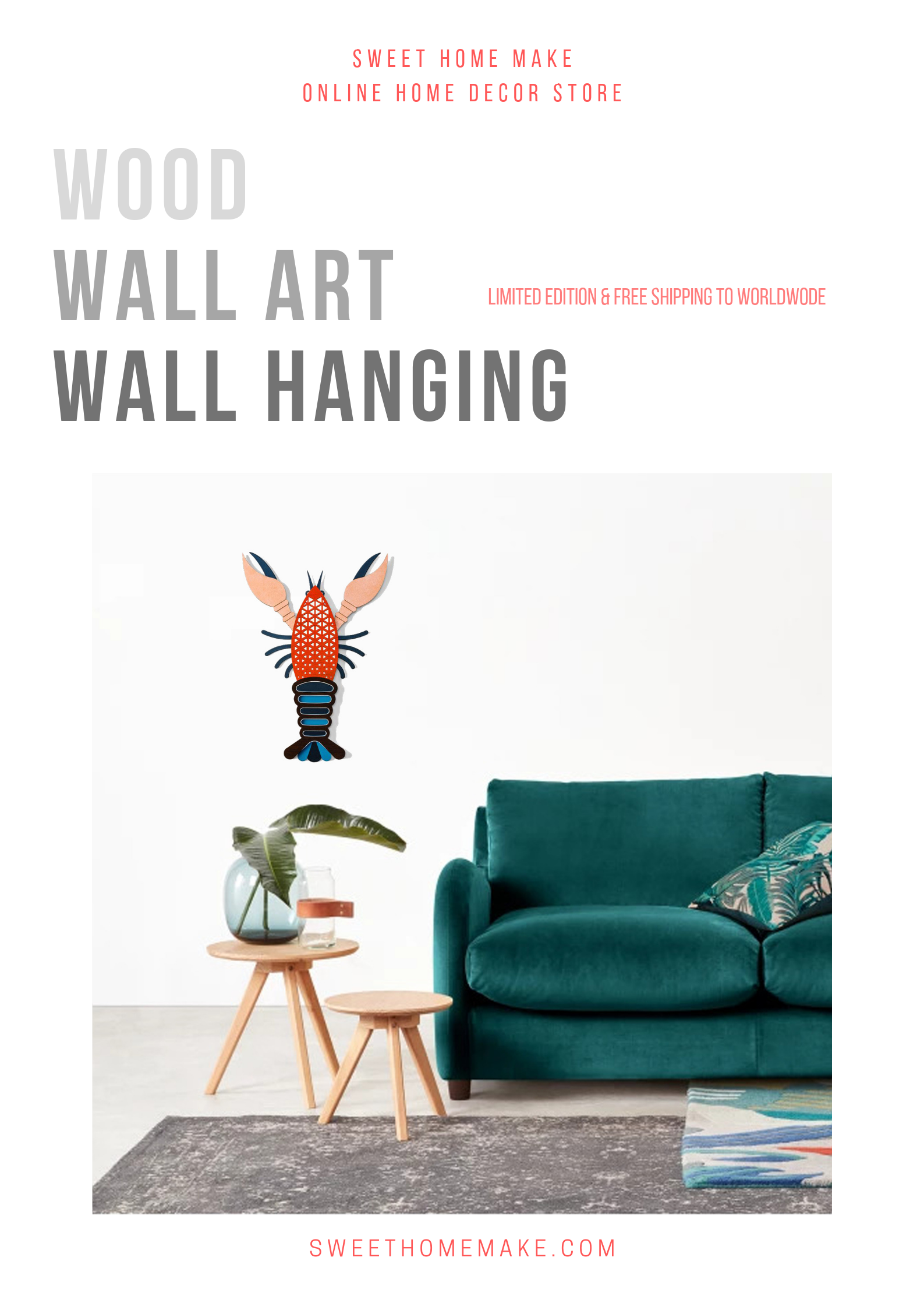 Wood Wall Art with Wall Hanging Lobster