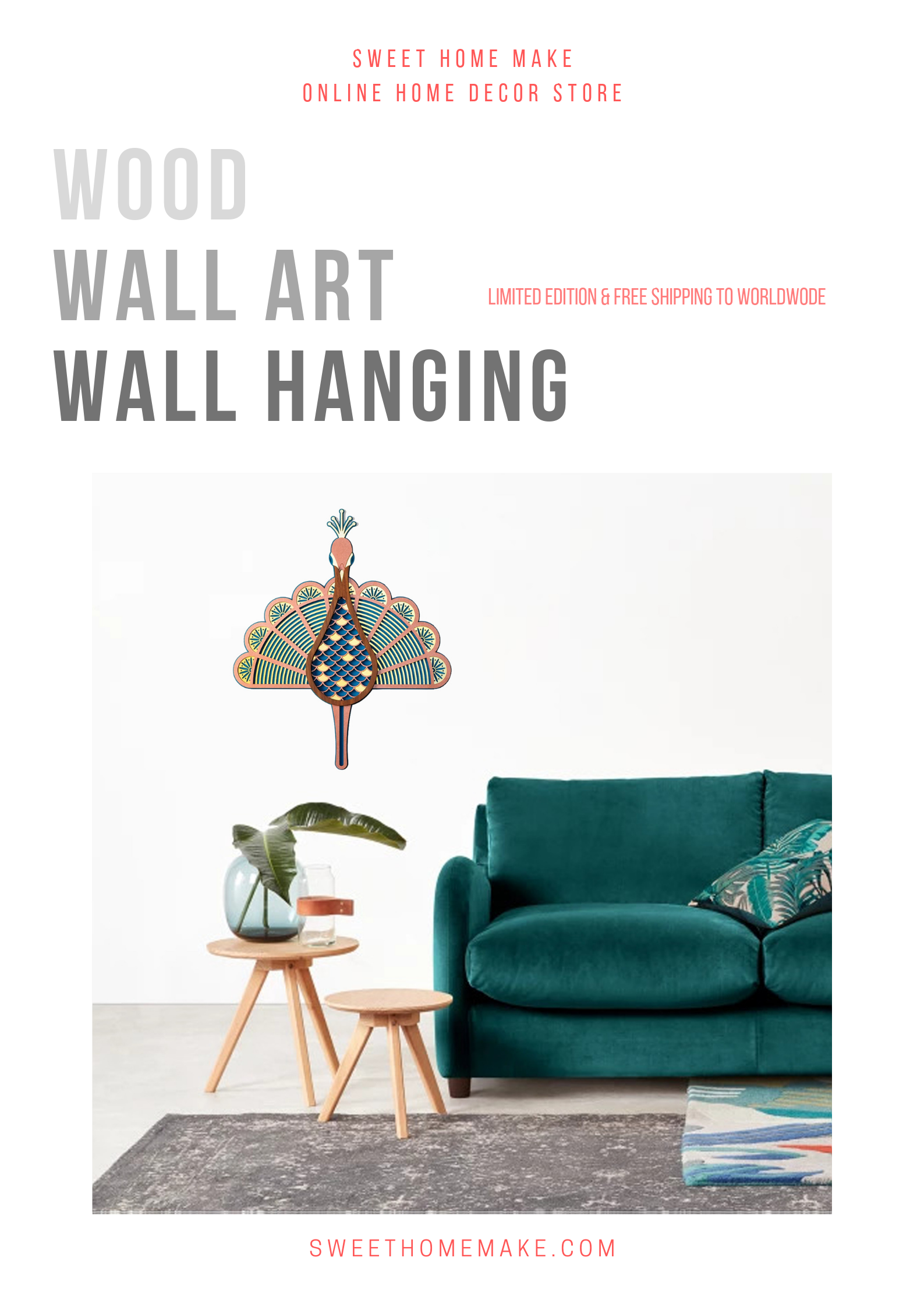 Wood Wall Art with Wall Hanging Peacock