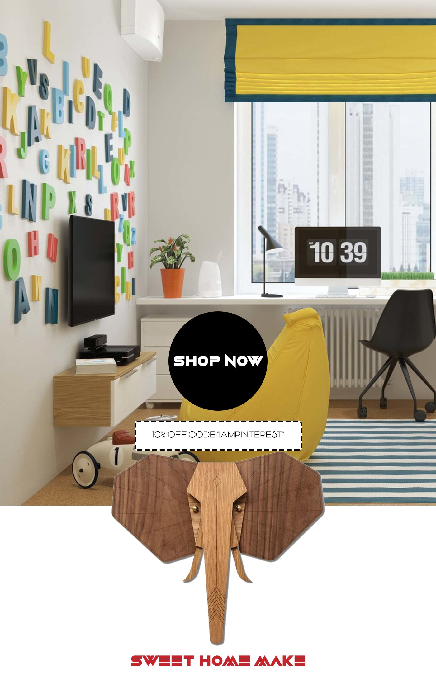 Wooden Elephant Wall Art for Nursery Room and Kids Room Decor