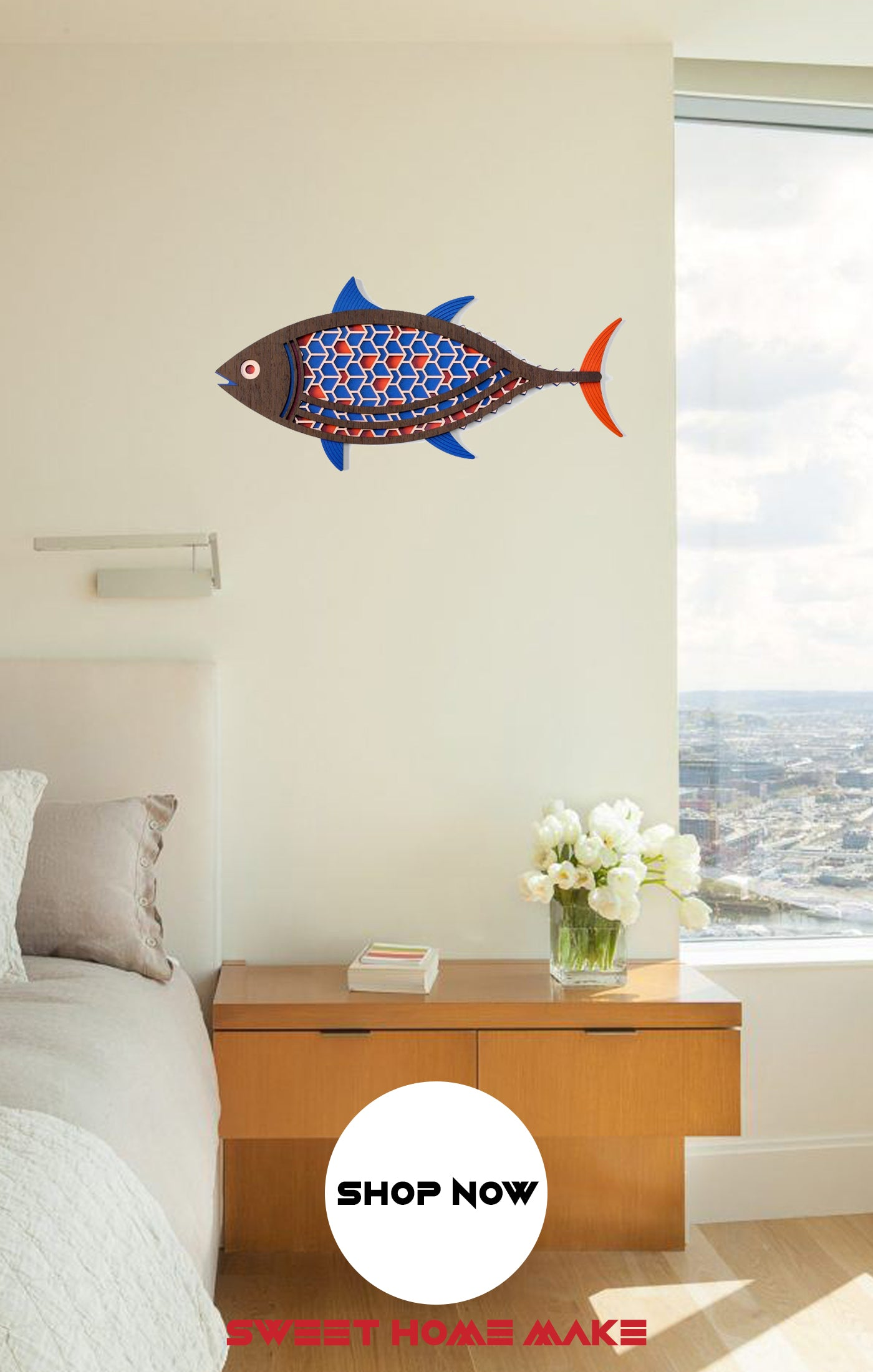 Wooden Fish Wall Art at the Bedroom Wall Decor