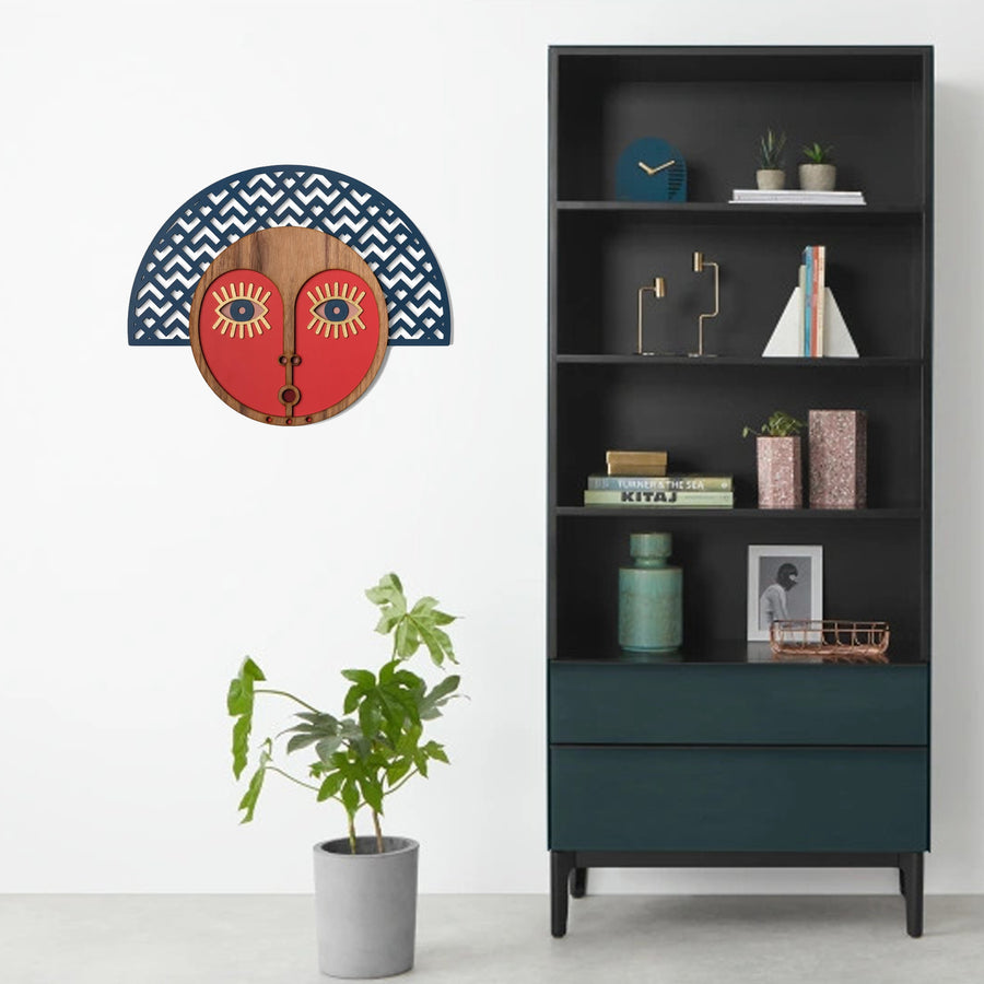 Abstract Wall Art with African Wall Hanging Mask
