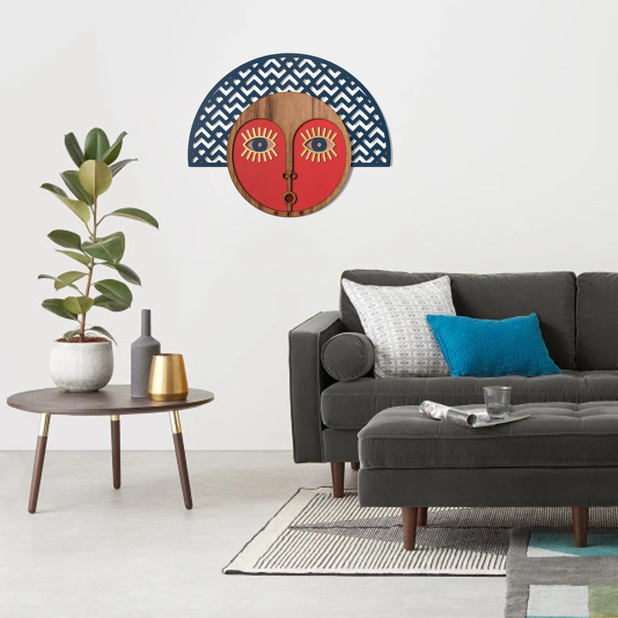 Abstract Wall Decor with African Wall Mask Carved Wood Wall Art