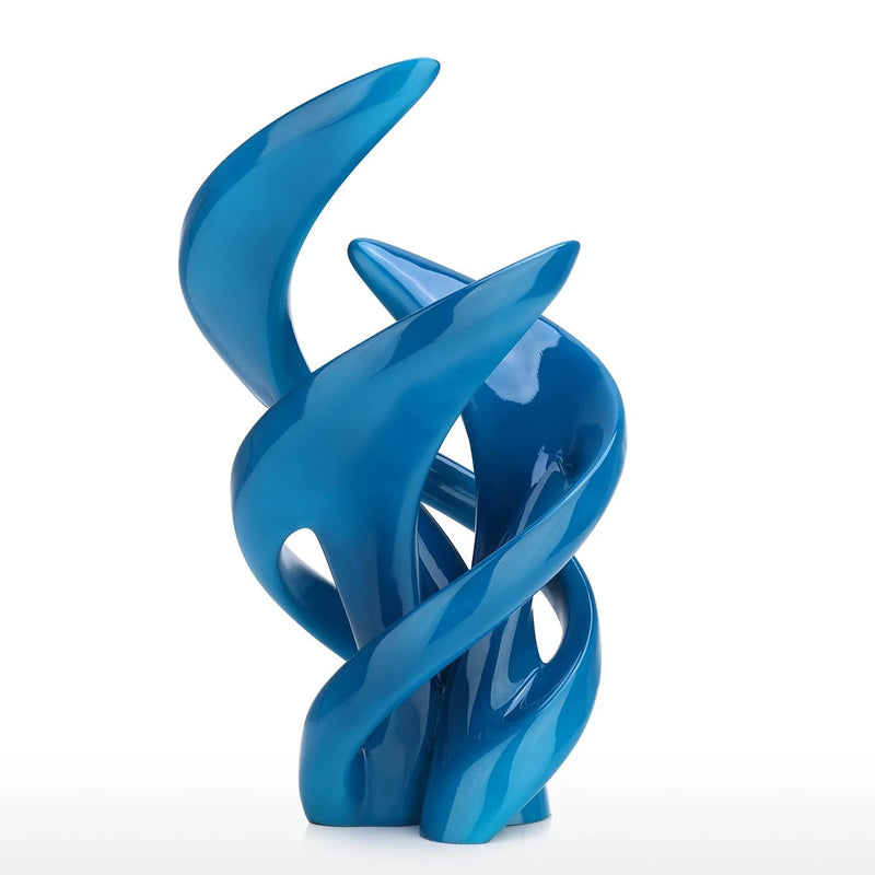 Abstract and Geometric Sculpture For Blue Accent Decor