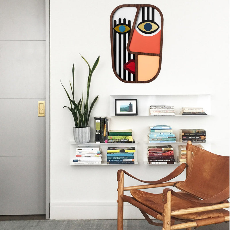 Abstract and Picasso Face on the Wooden Boho Wall Decor African Masks