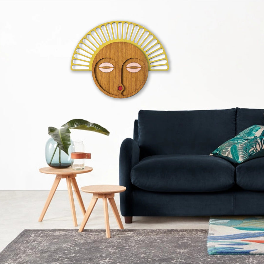 African Mask Wall Decor with Wood Wall Art