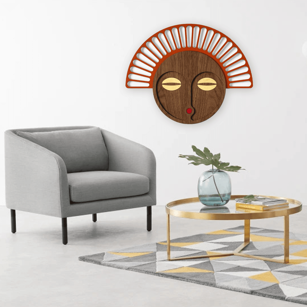 African Wall Hanging Mask with Wood Wall Art