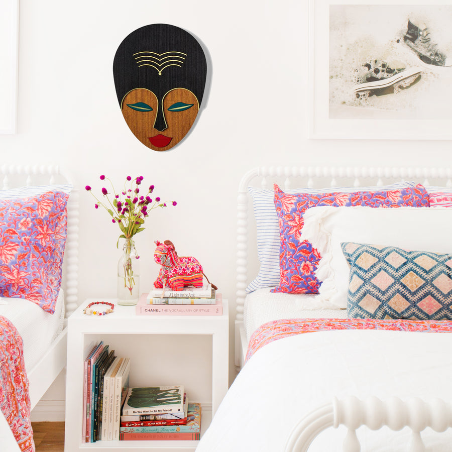 Afrocentric Woman African Wall Art Boho Details on Wooden Masken