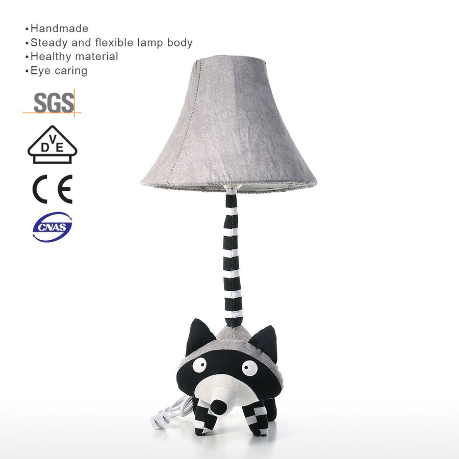 Animal Lamp with Crochet and Patchwork Textitle Raccoon Decor for Nursery Decor