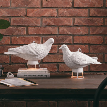 Bird Table Lamp with White Sculpture